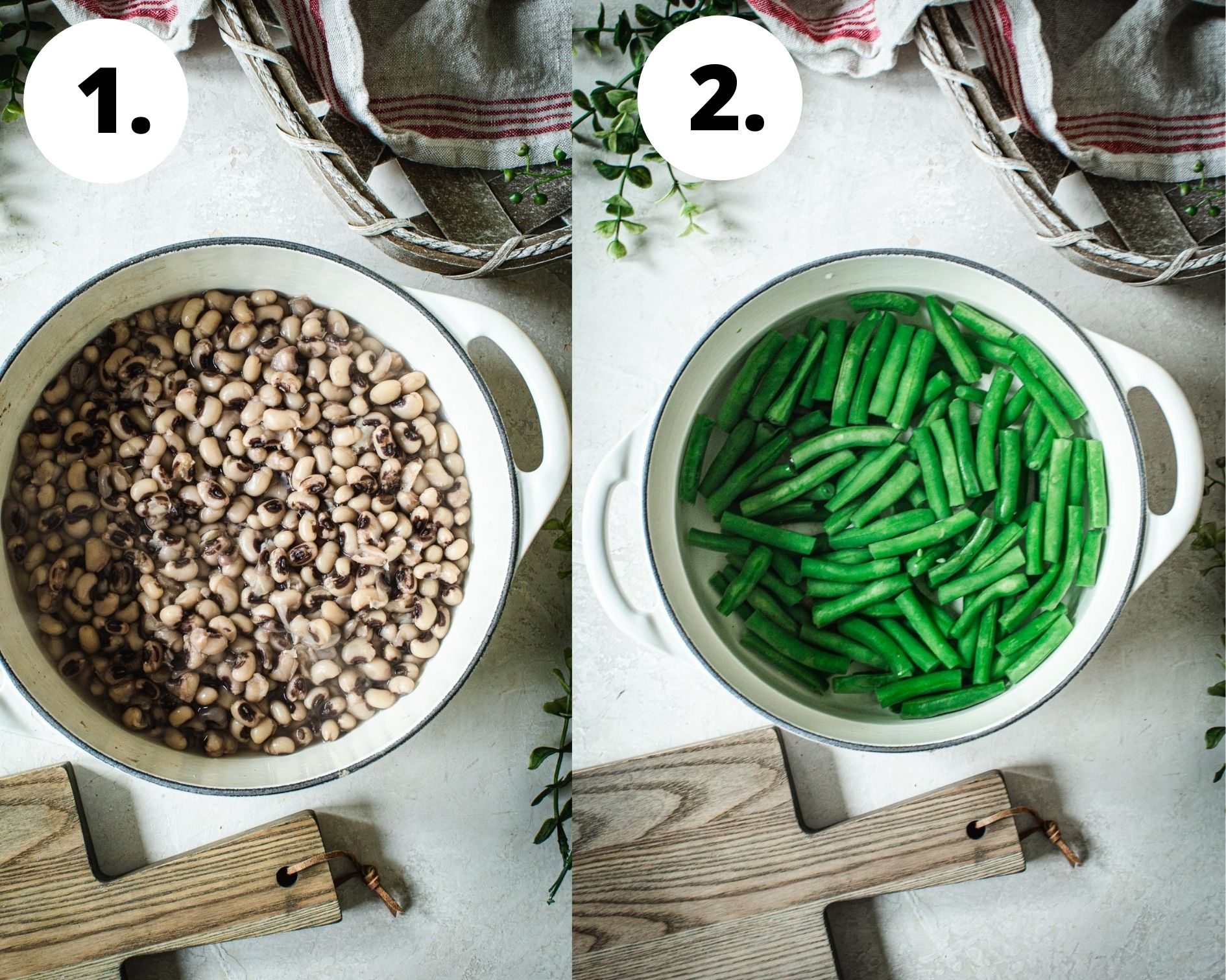 Pickled three bean salad process steps 1 and 2.