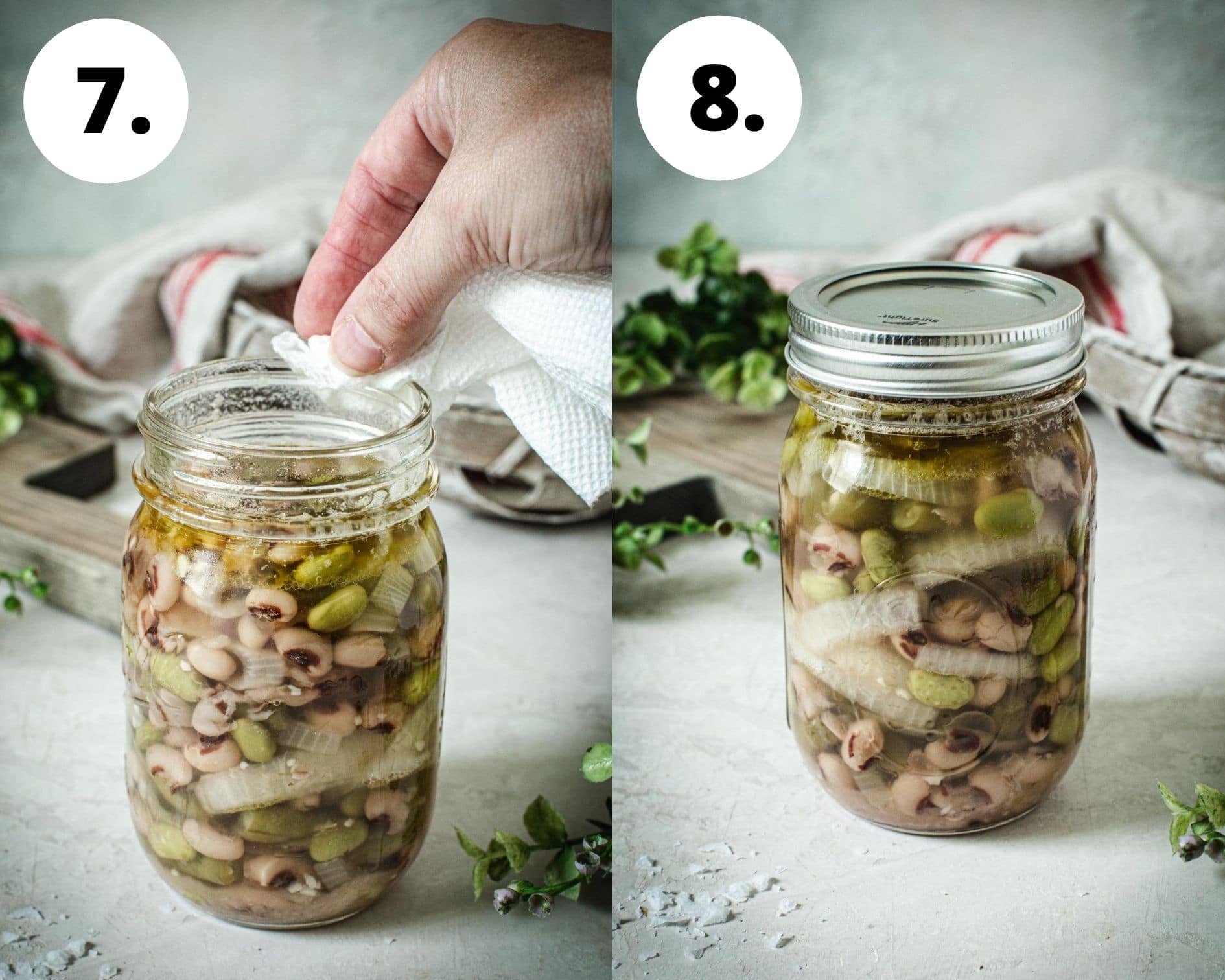 Canning process steps for three bean salad steps 7 and 8.