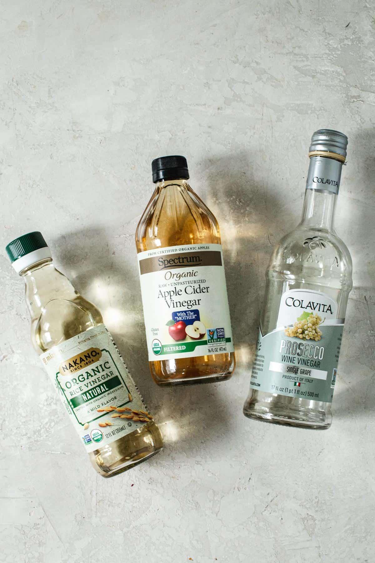 Bottles of different kinds of vinegar.