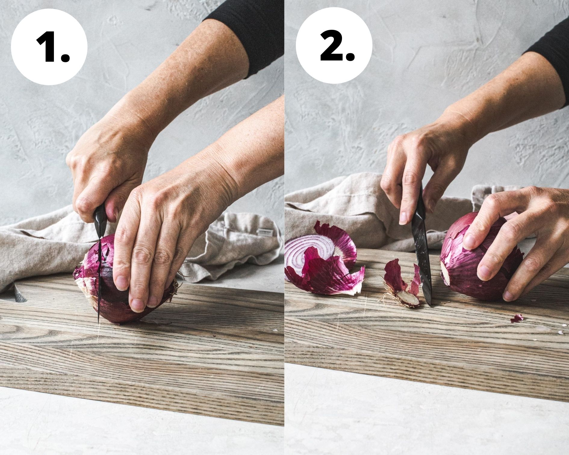 Process steps 1 and 2 for cutting an onion crosswise.