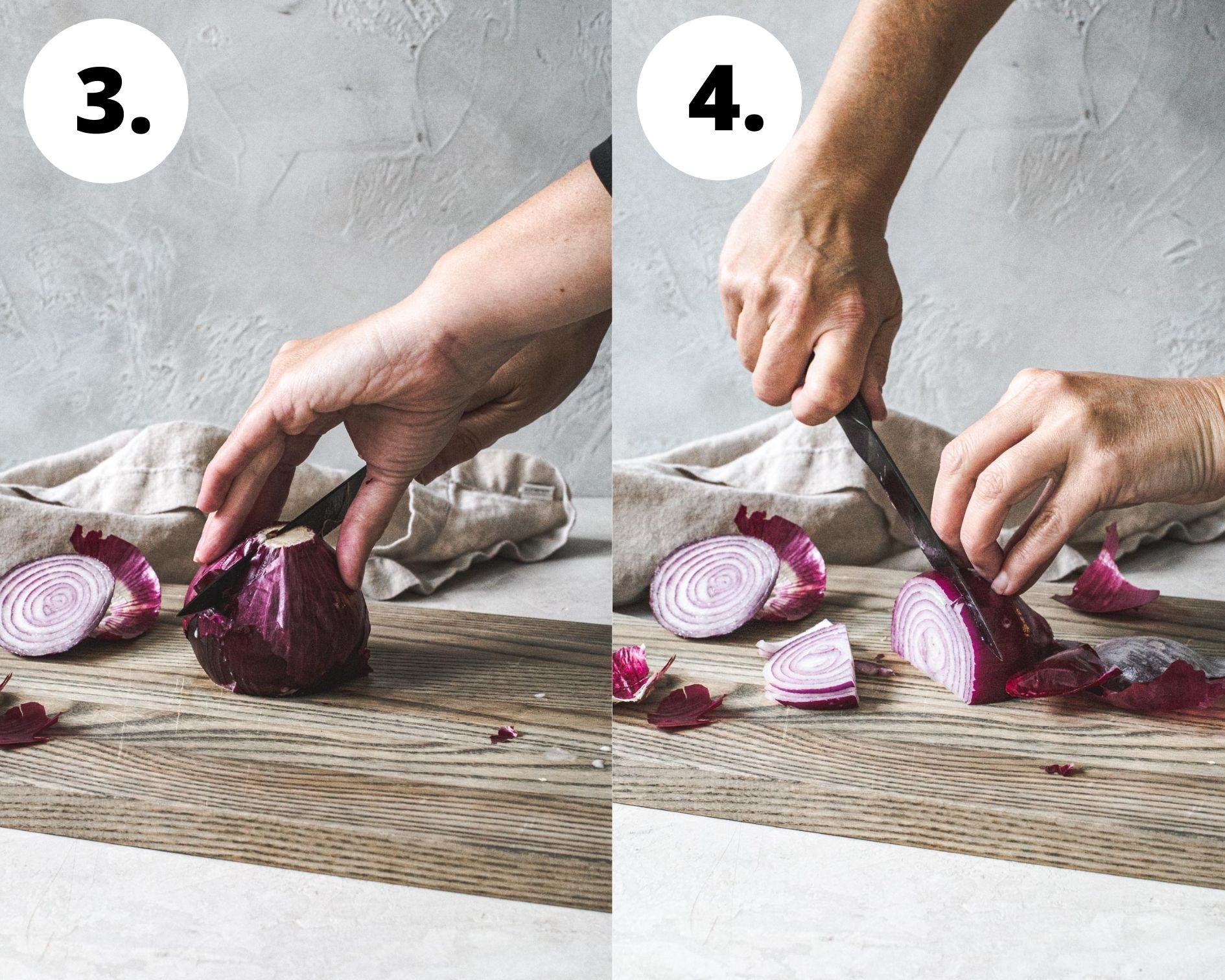 Process steps 3 and 4 for how to cut an onion crosswise.
