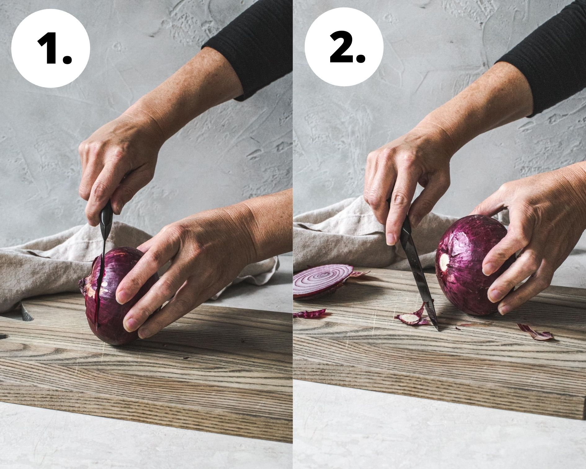Process steps 1 and 2 for how to cut an onion.