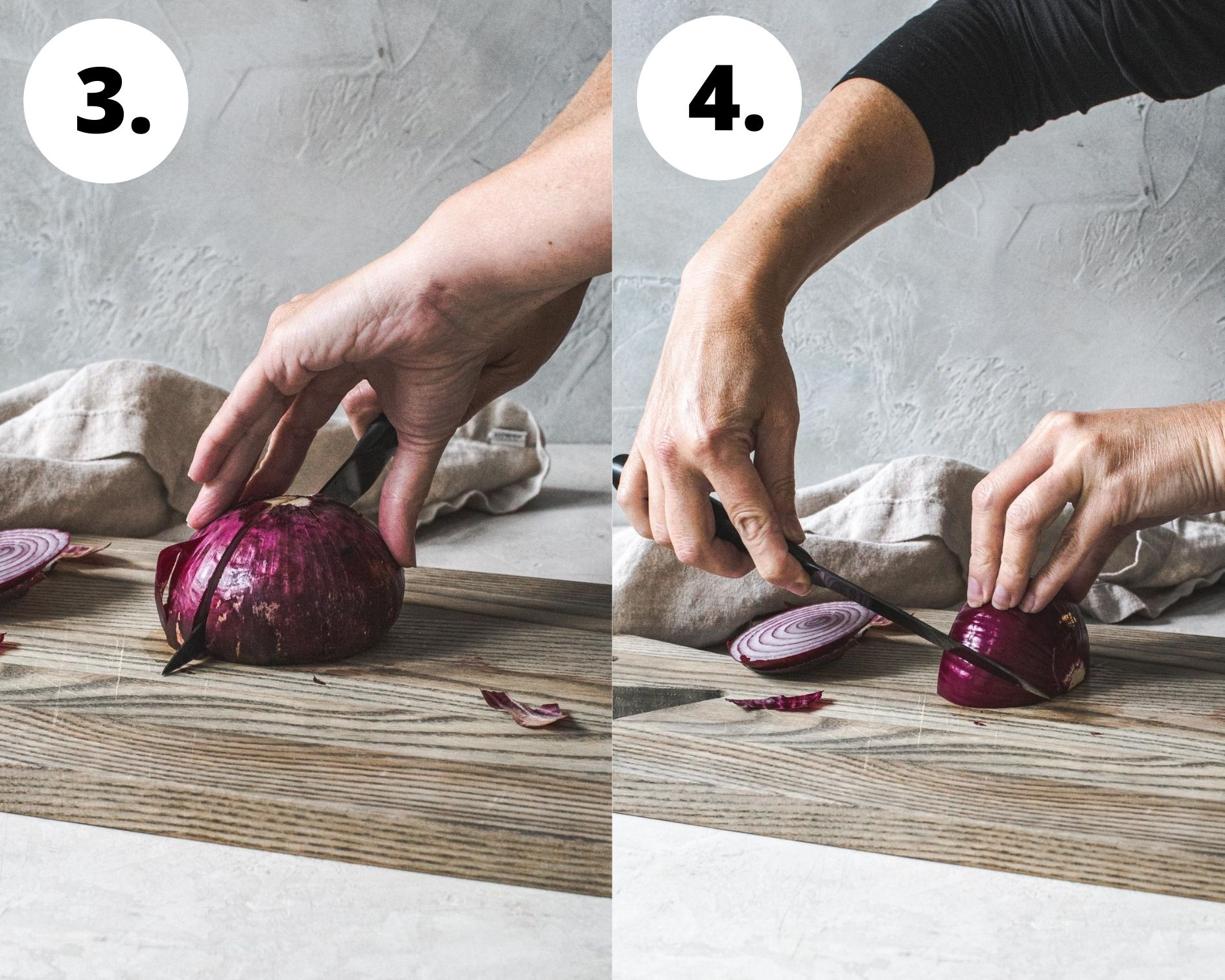Process steps 3 and 4 for how to cut an onion.