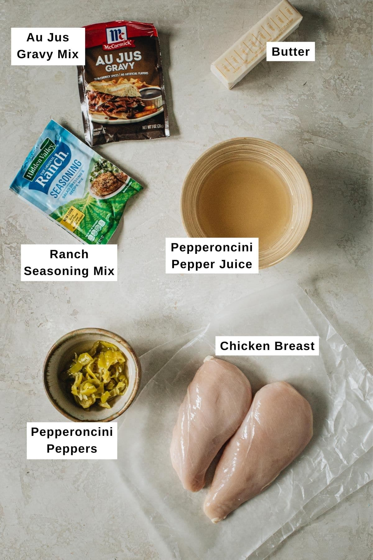 MIssissippi chicken ingredients laid out on a table.