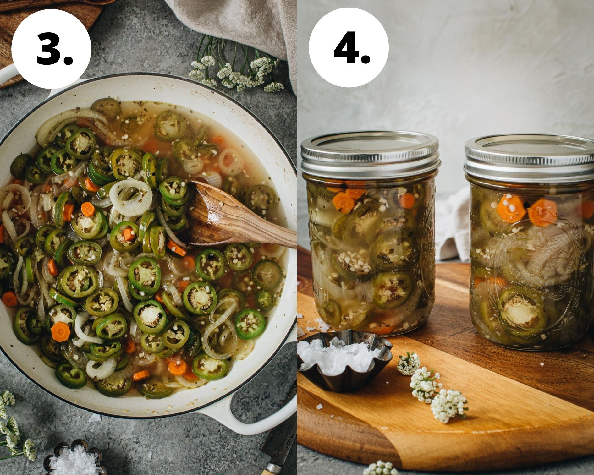 Pickled jalapenos and carrots process steps 3 and 4.