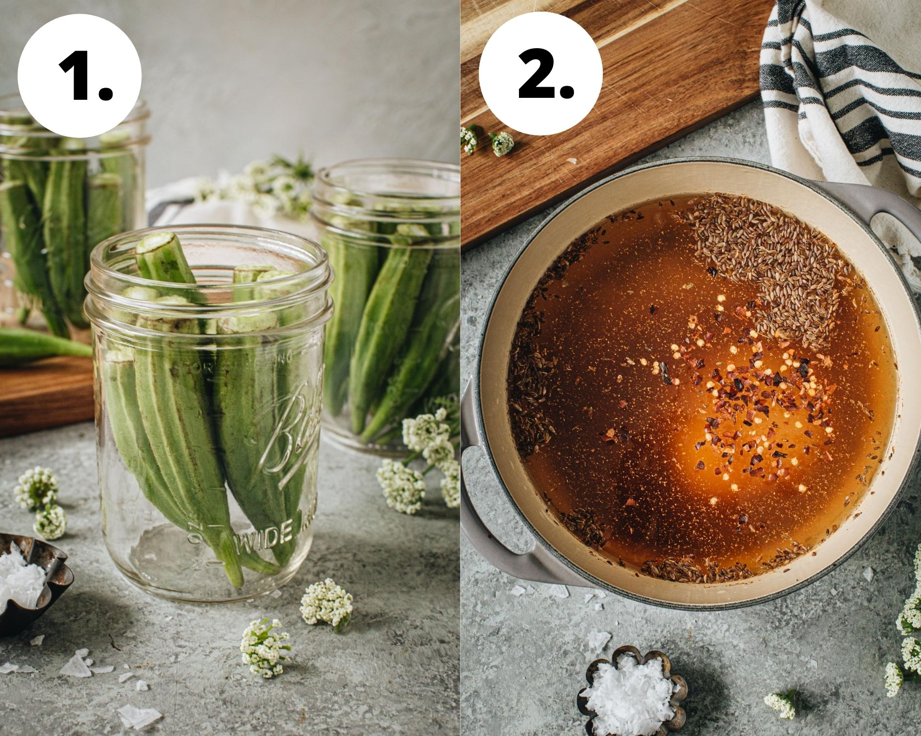 Pickled okra process steps 1 and 2.