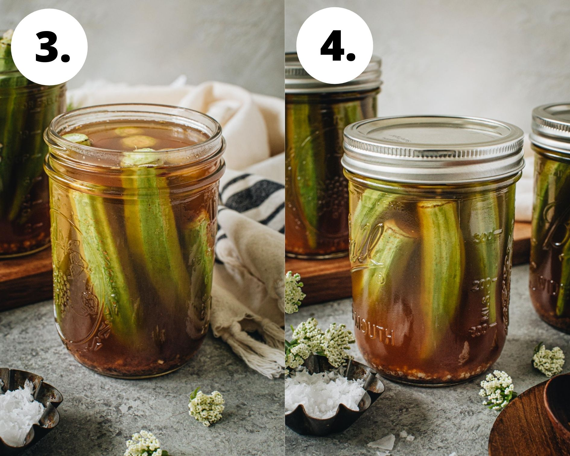 Pickled okra process steps 3 and 4.