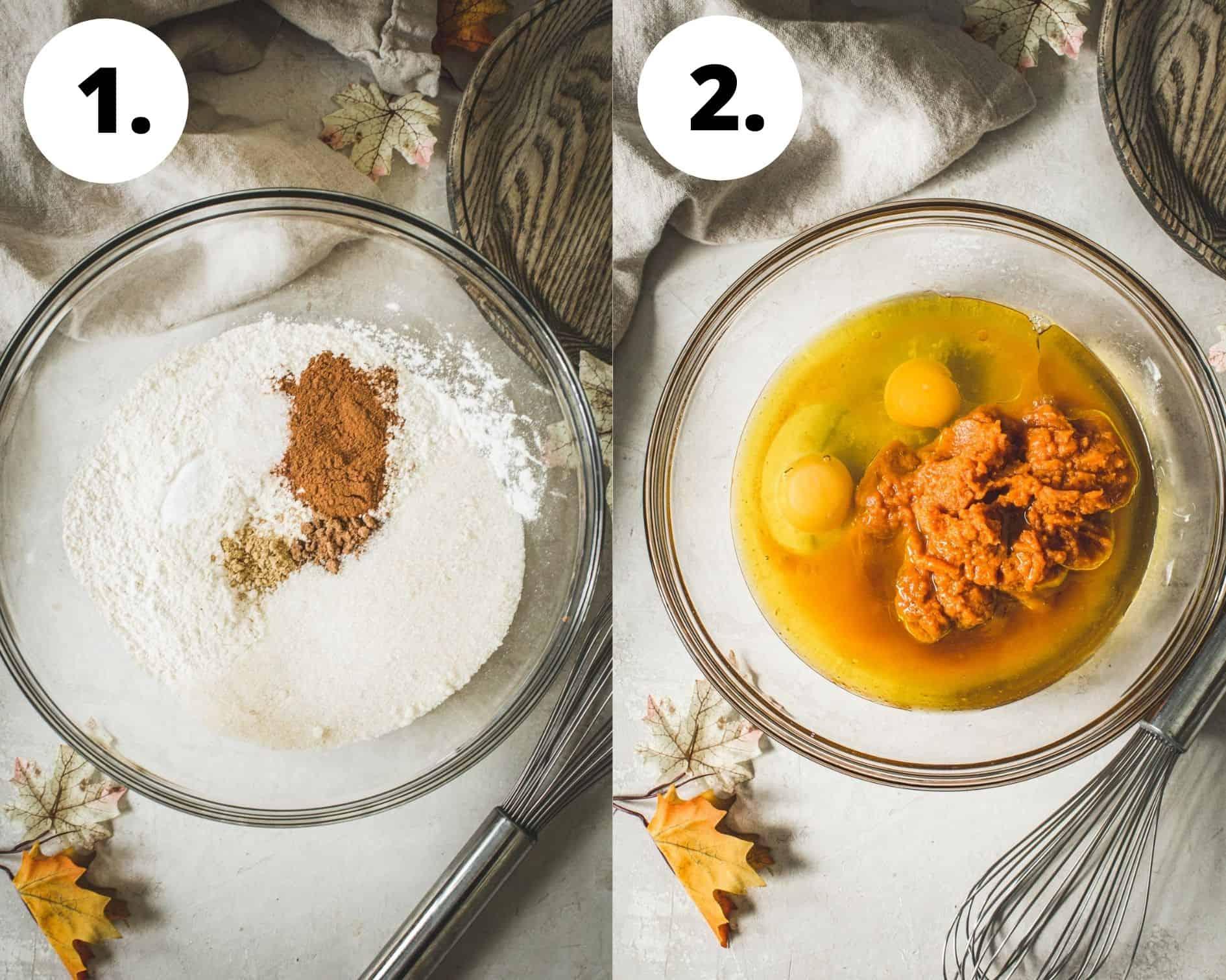 Pumpkin bread process steps 1 and 2.