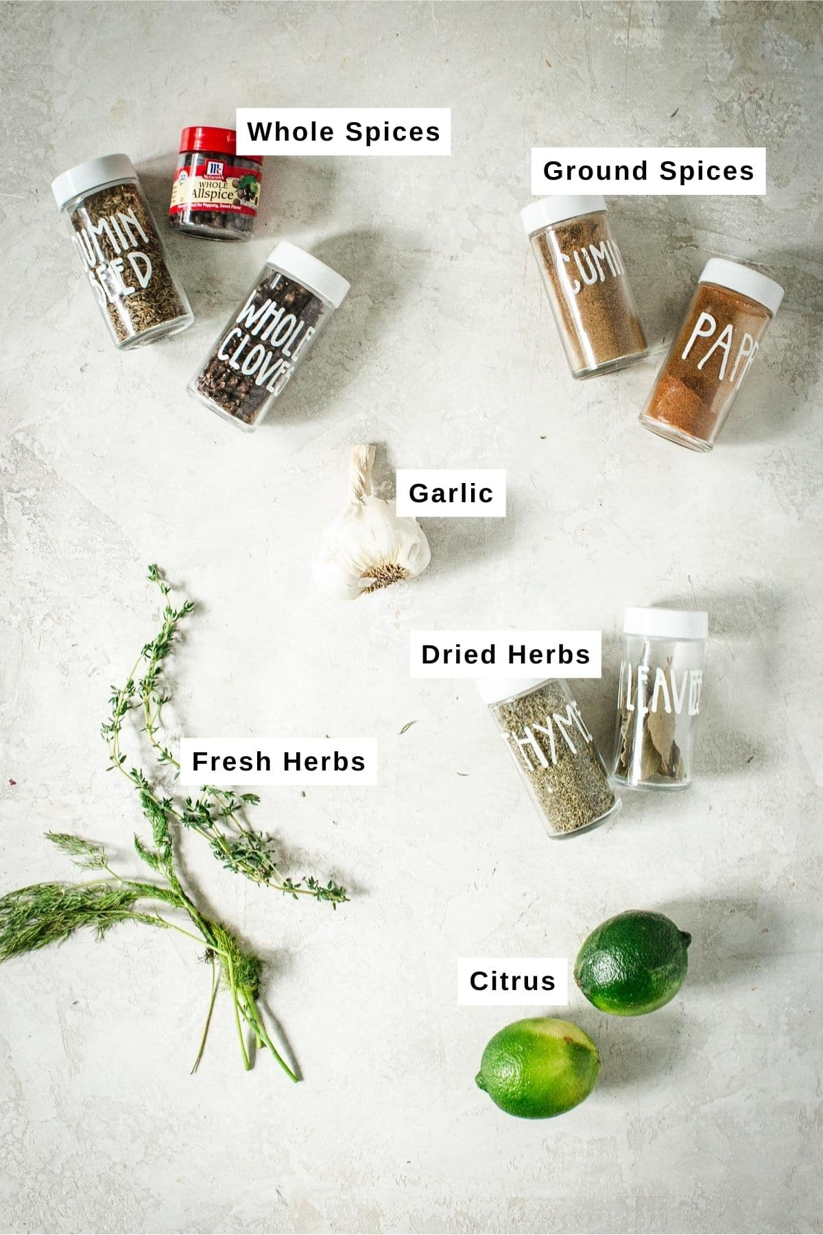 Spices and herbs in jars and fresh for pickled vegetables.