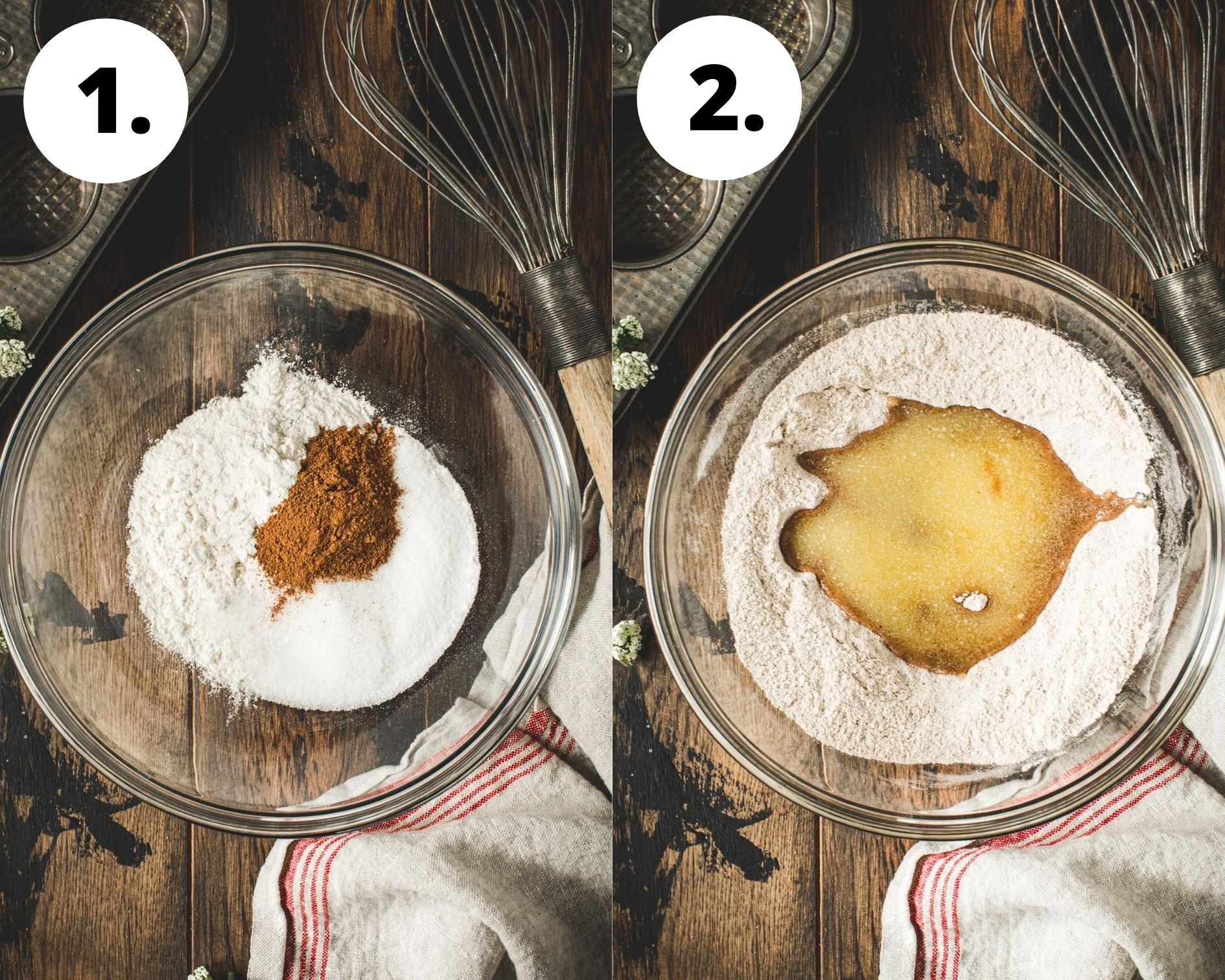 Apple crumble muffins process steps 1 and 2.