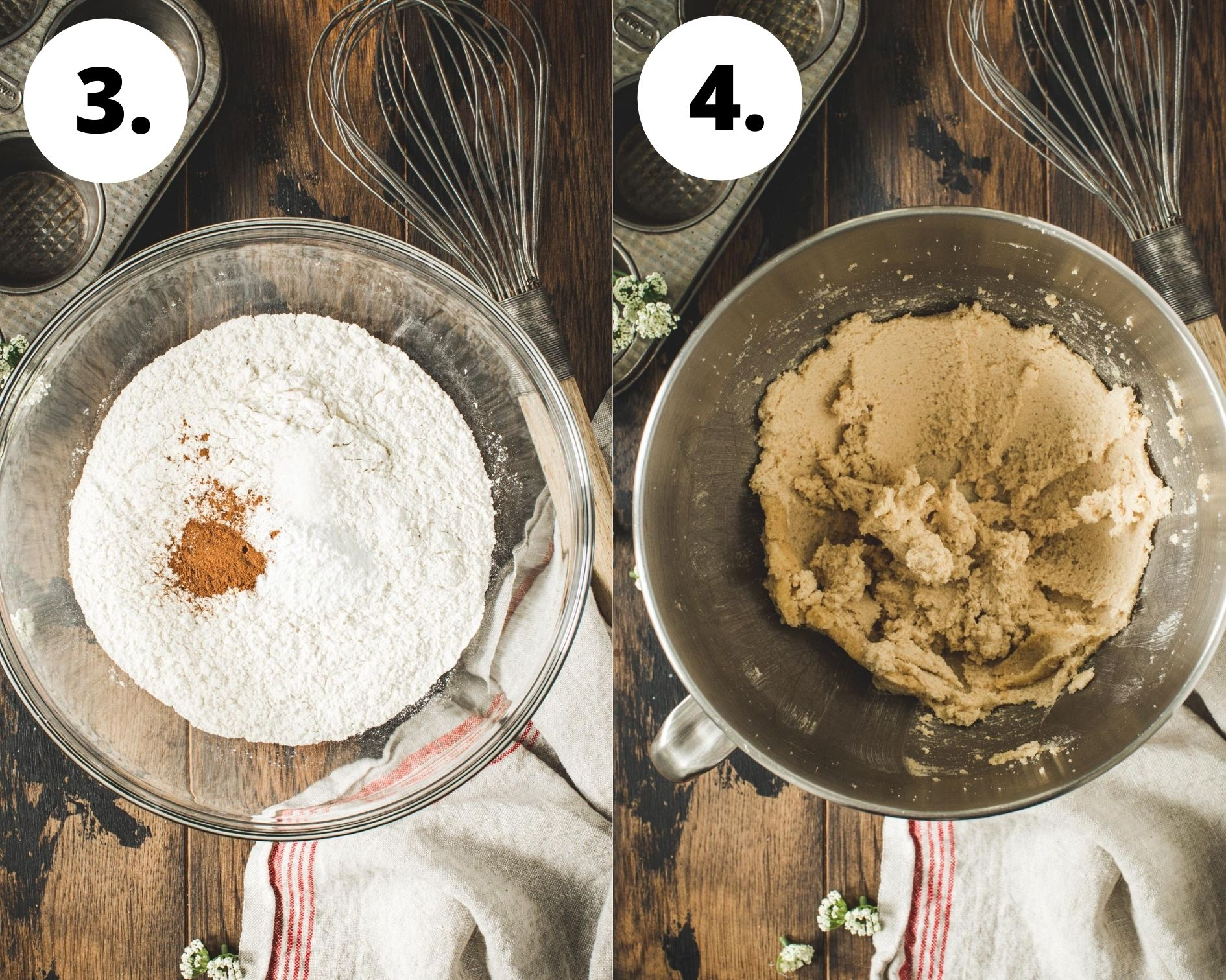 Apple muffins process steps 3 and 4.
