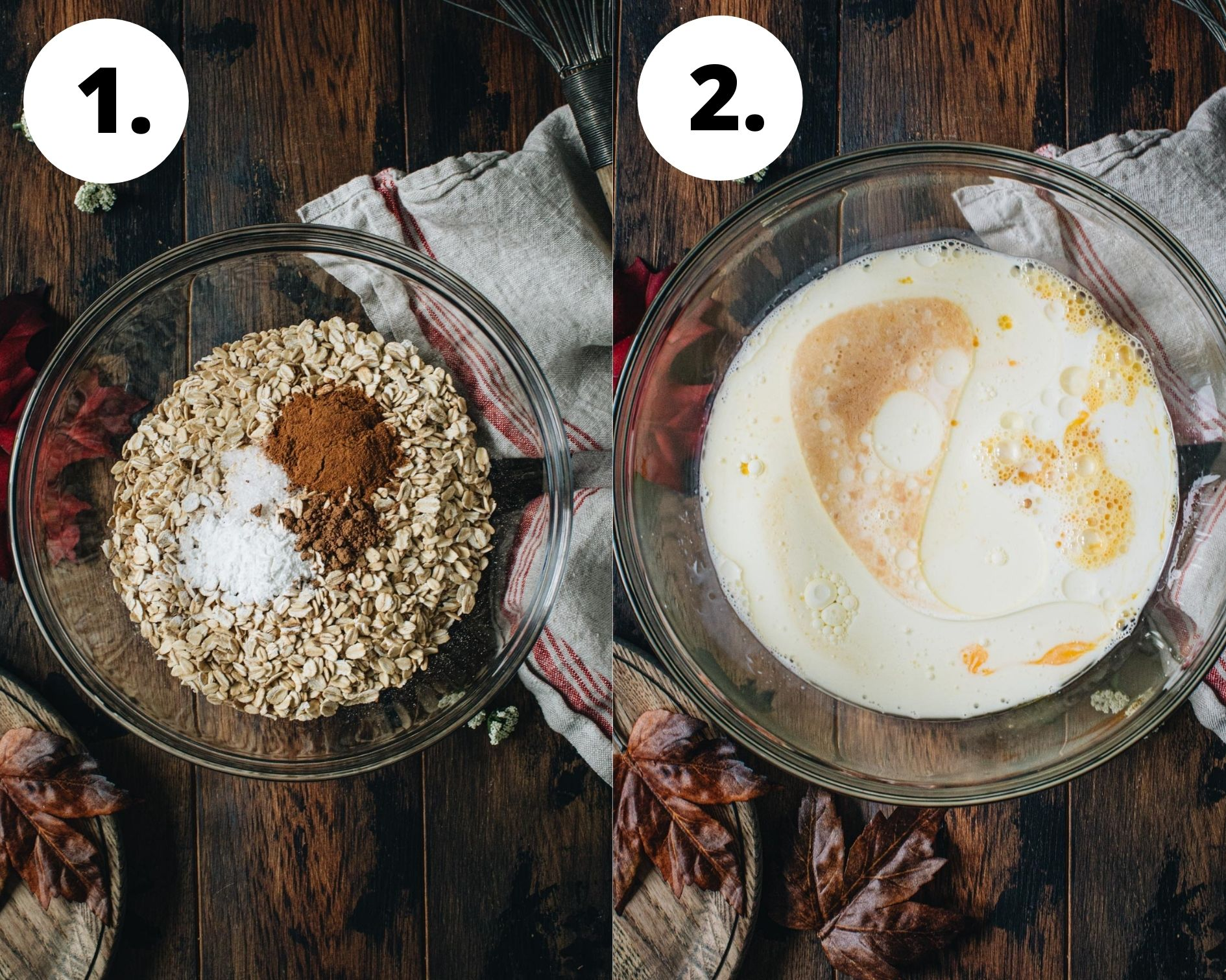 Baked apple oatmeal process steps 1 and 2.