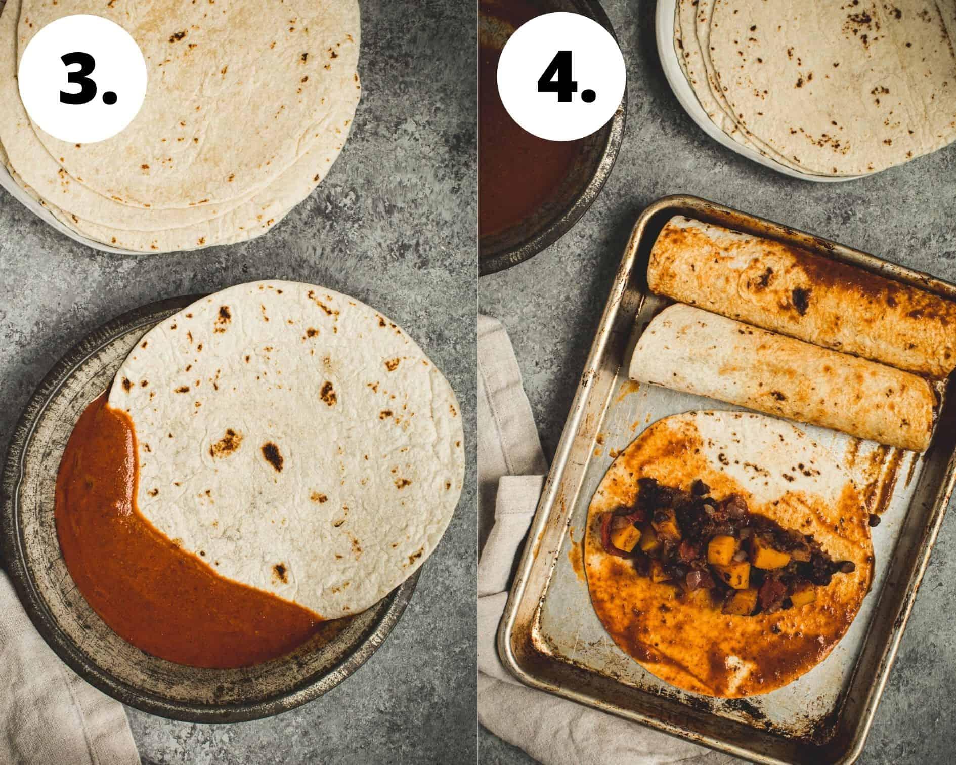 Butternut squash enchiladas process steps 3 and 4.
