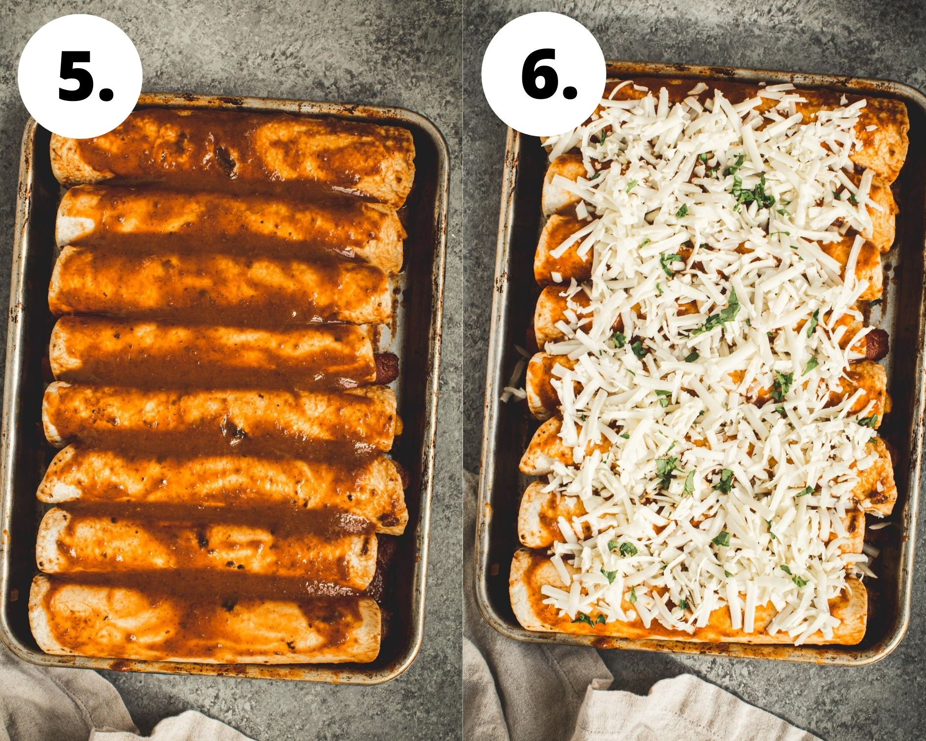 Butternut squash enchiladas process steps 5 and 6.