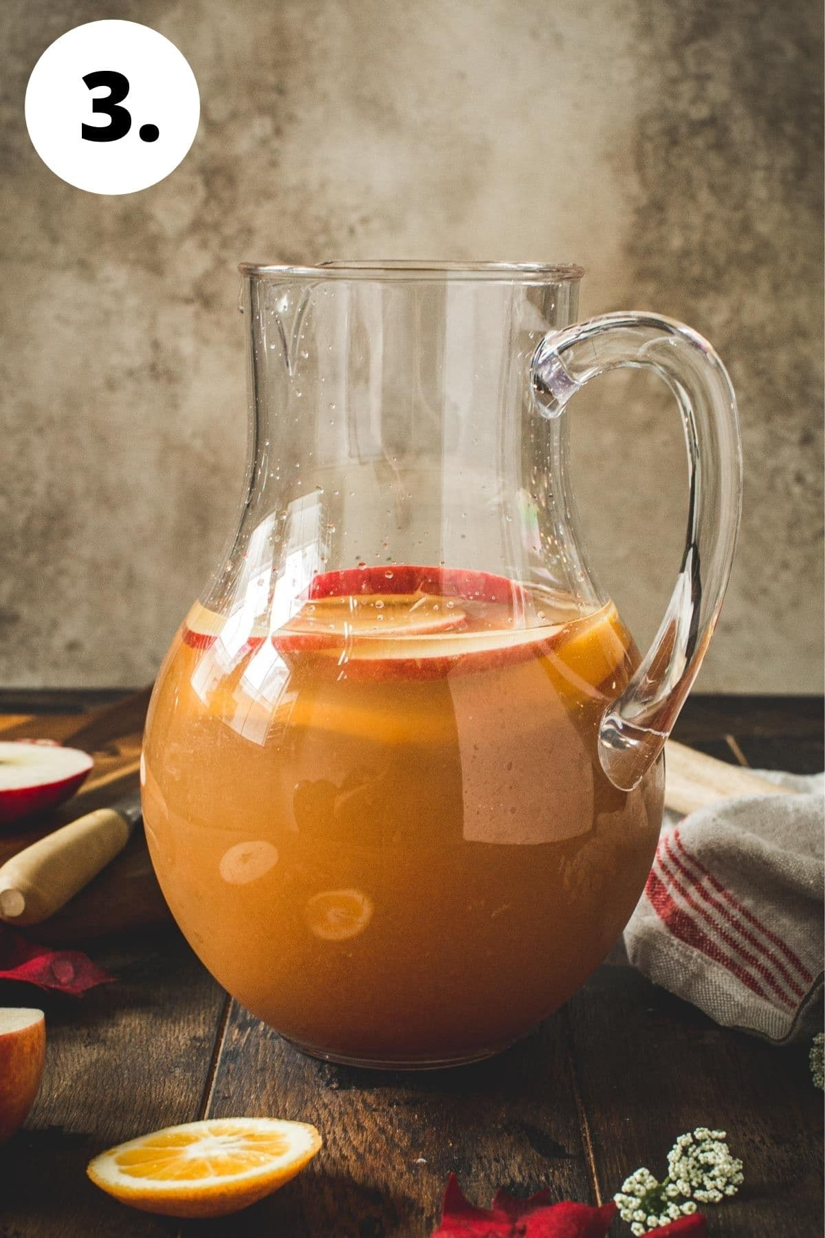 Caramel apple sangria process step 3.