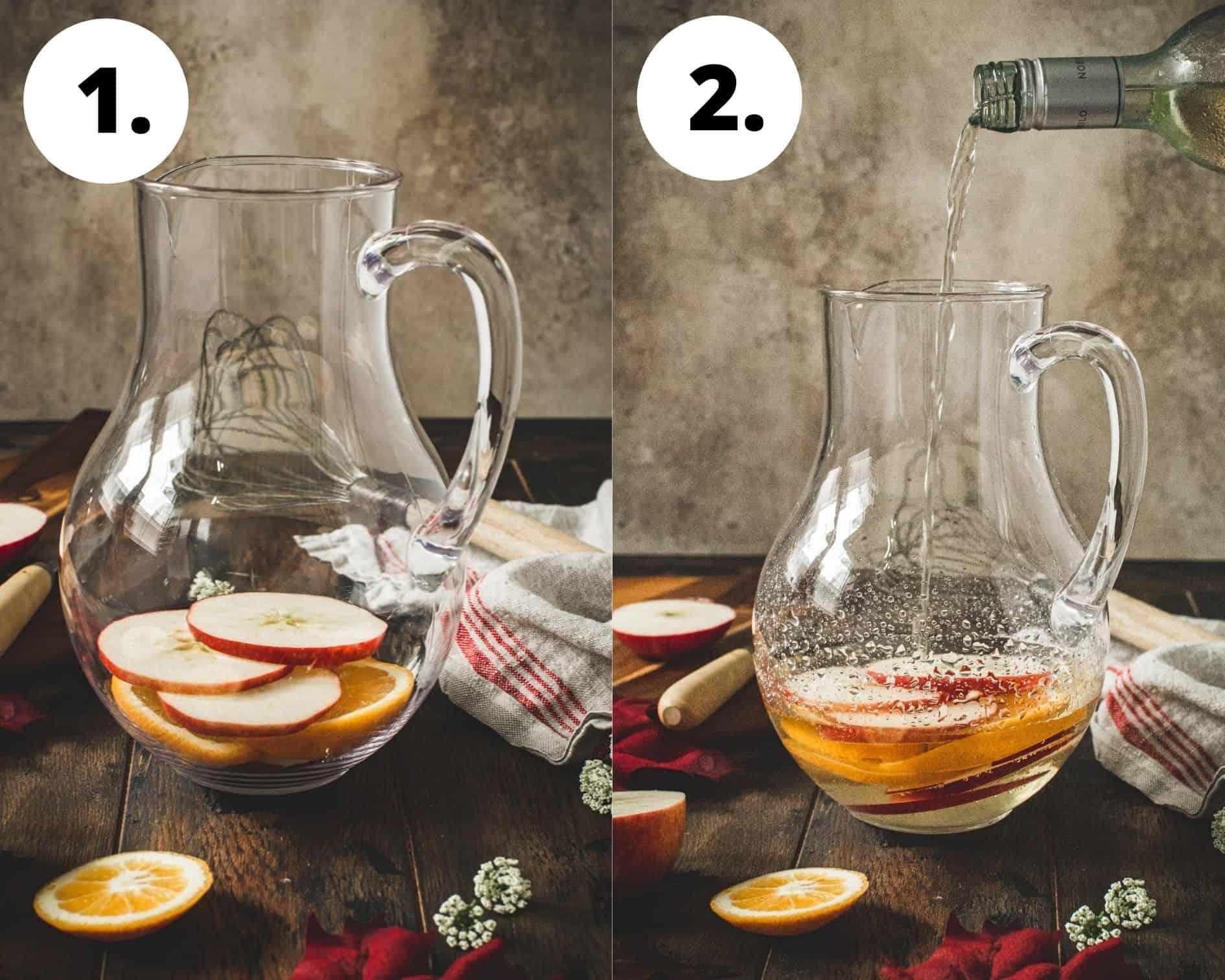 Caramel apple sangria process steps 1 and 2.