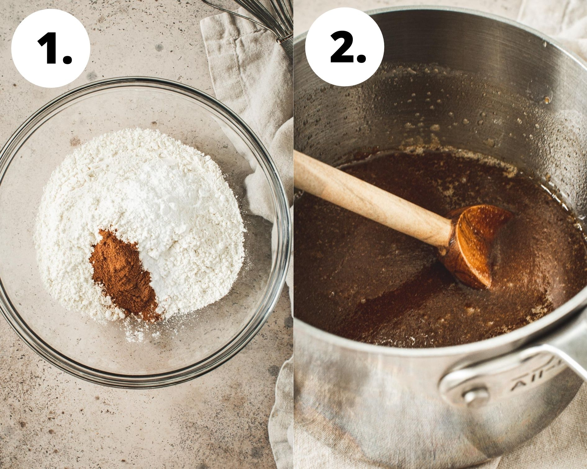 Cinnamon squares process steps 1 and 2.