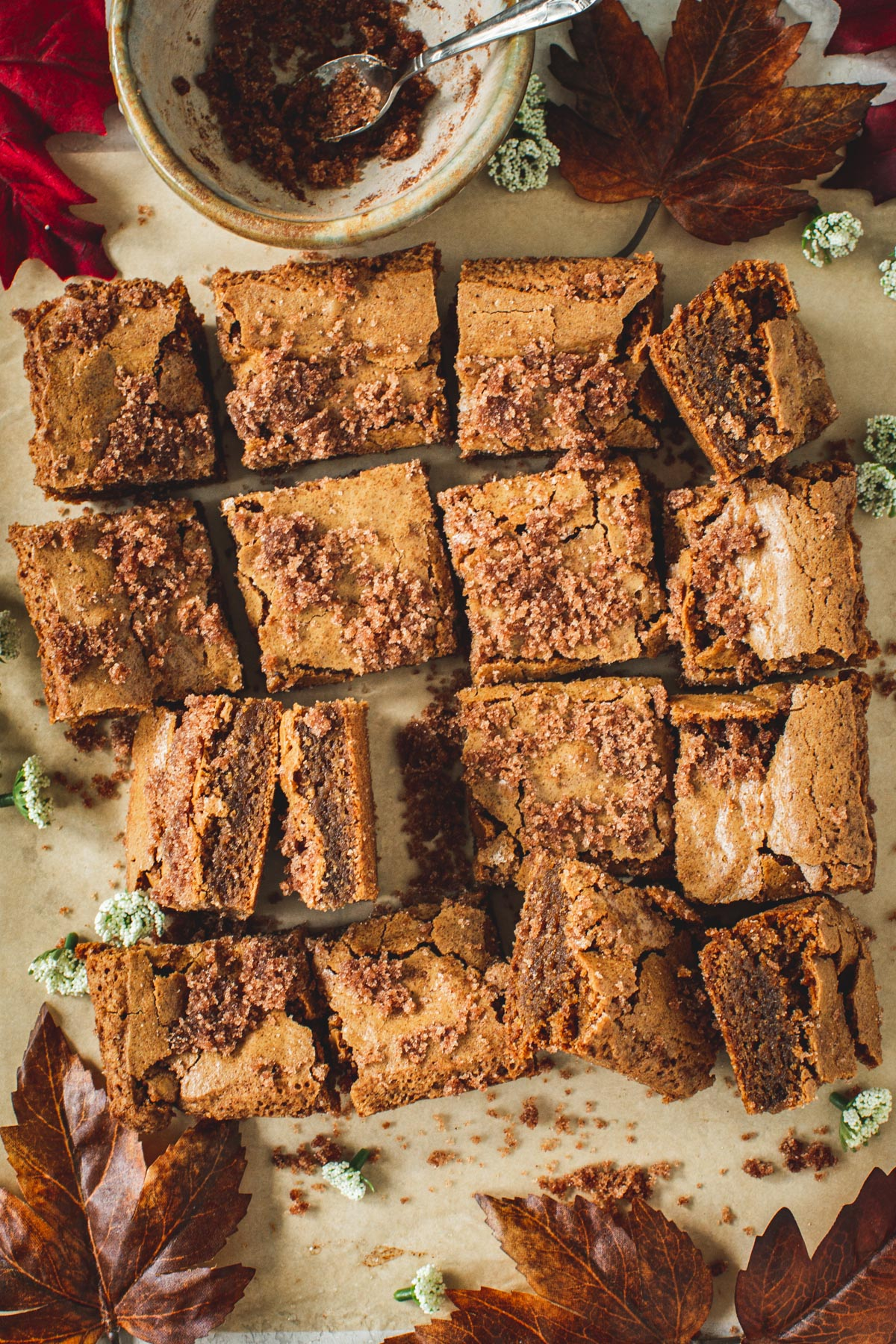 Cinnamon Squares on top of parchment paper.