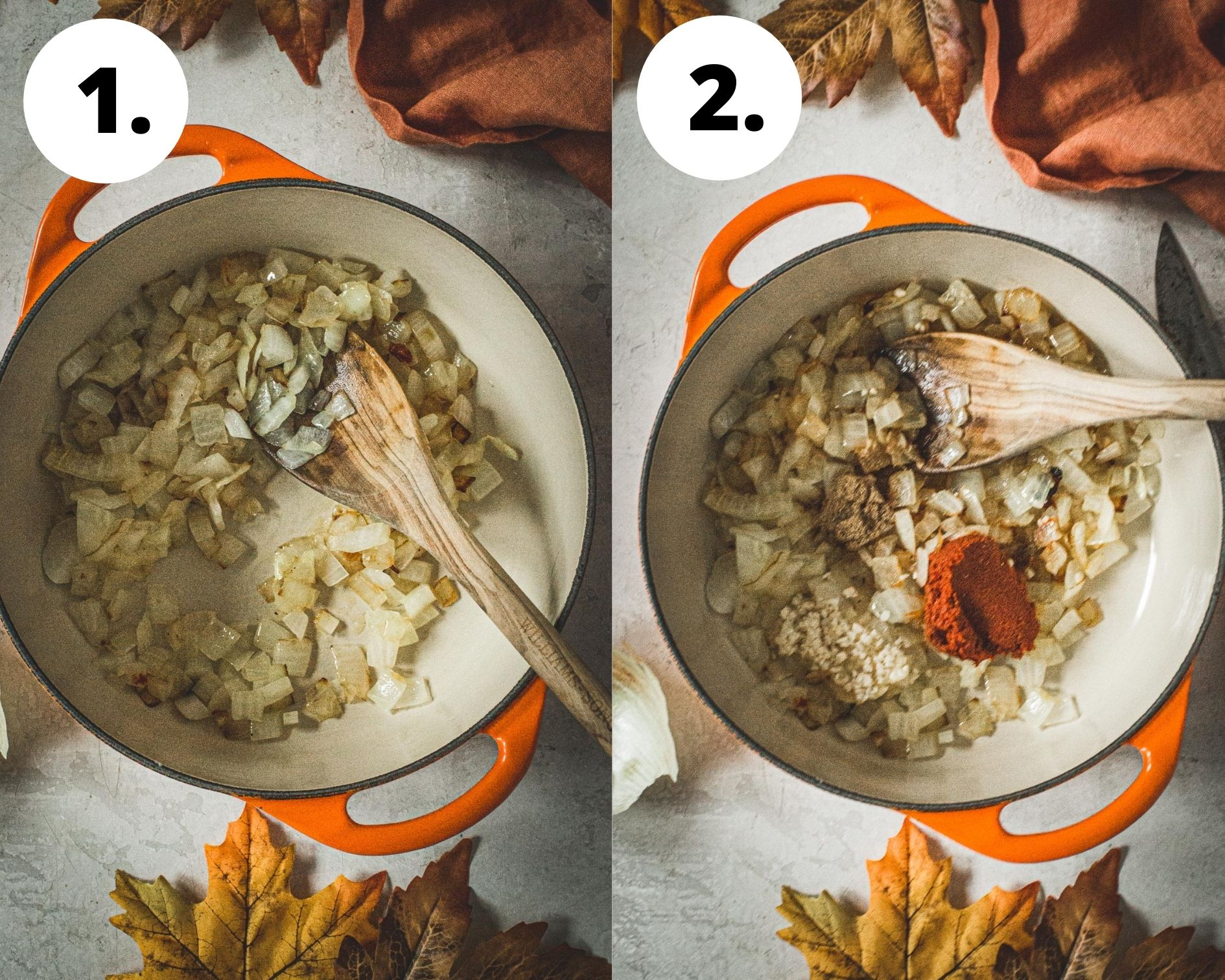 Curried pumpkin soup process steps 1 and 2.