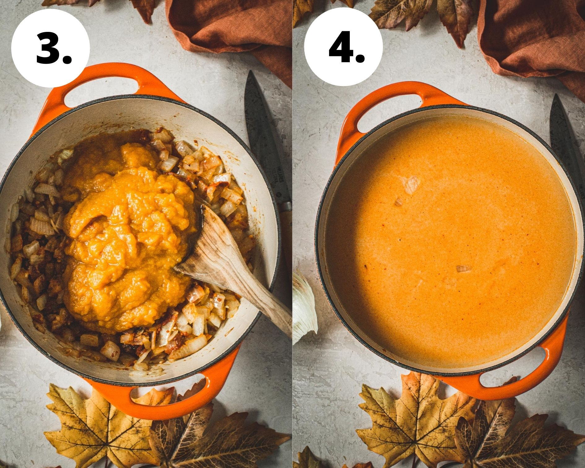 Curried pumpkin soup process steps 3 and 4.