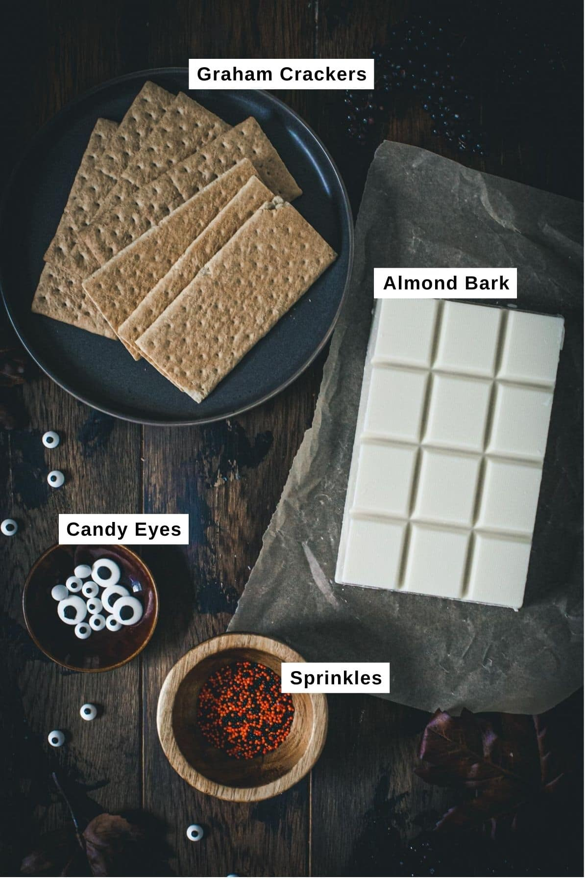 Halloween almond bark ingredients.