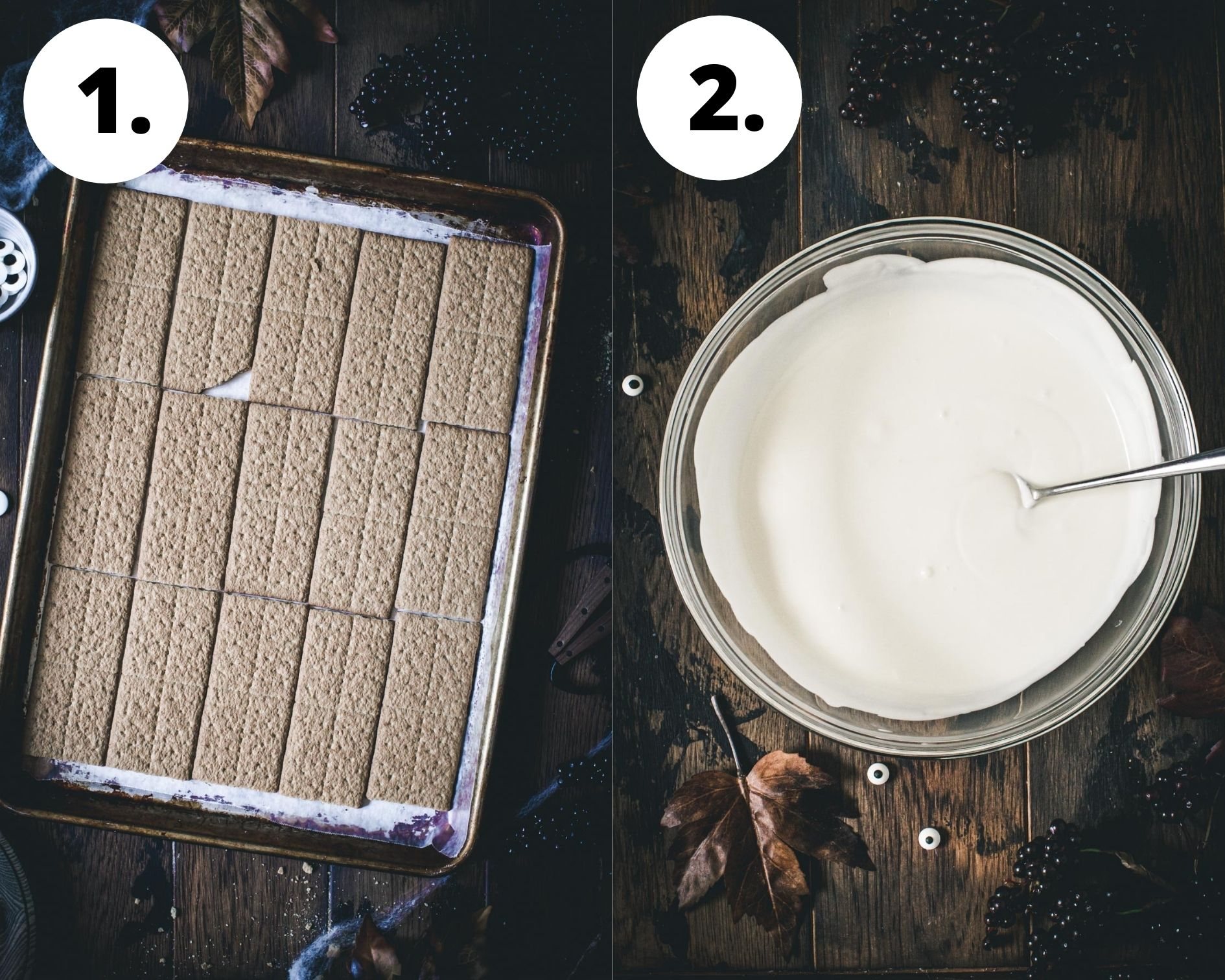 Almond bark process steps 1 and 2.