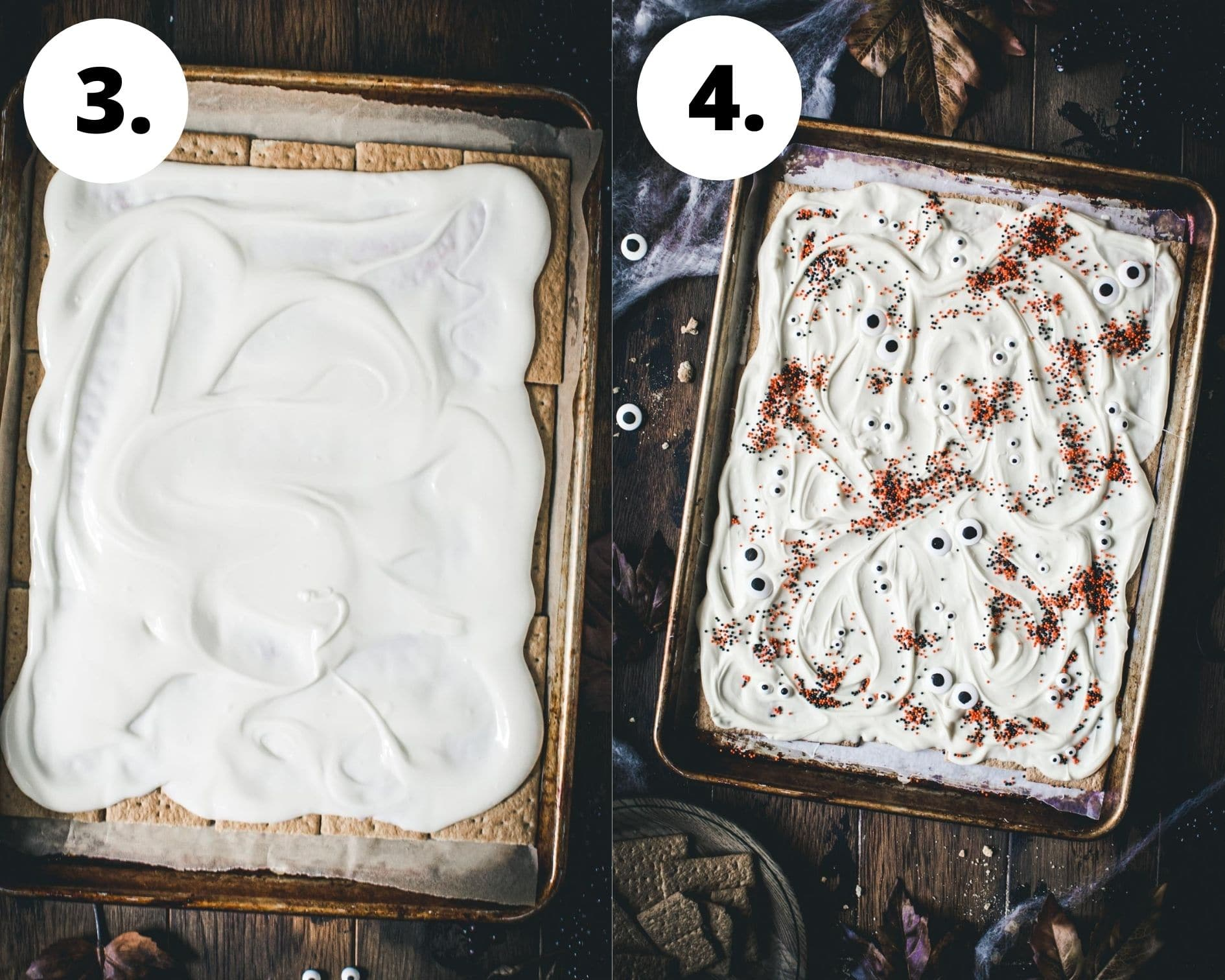 Almond bark process steps 3 and 4.