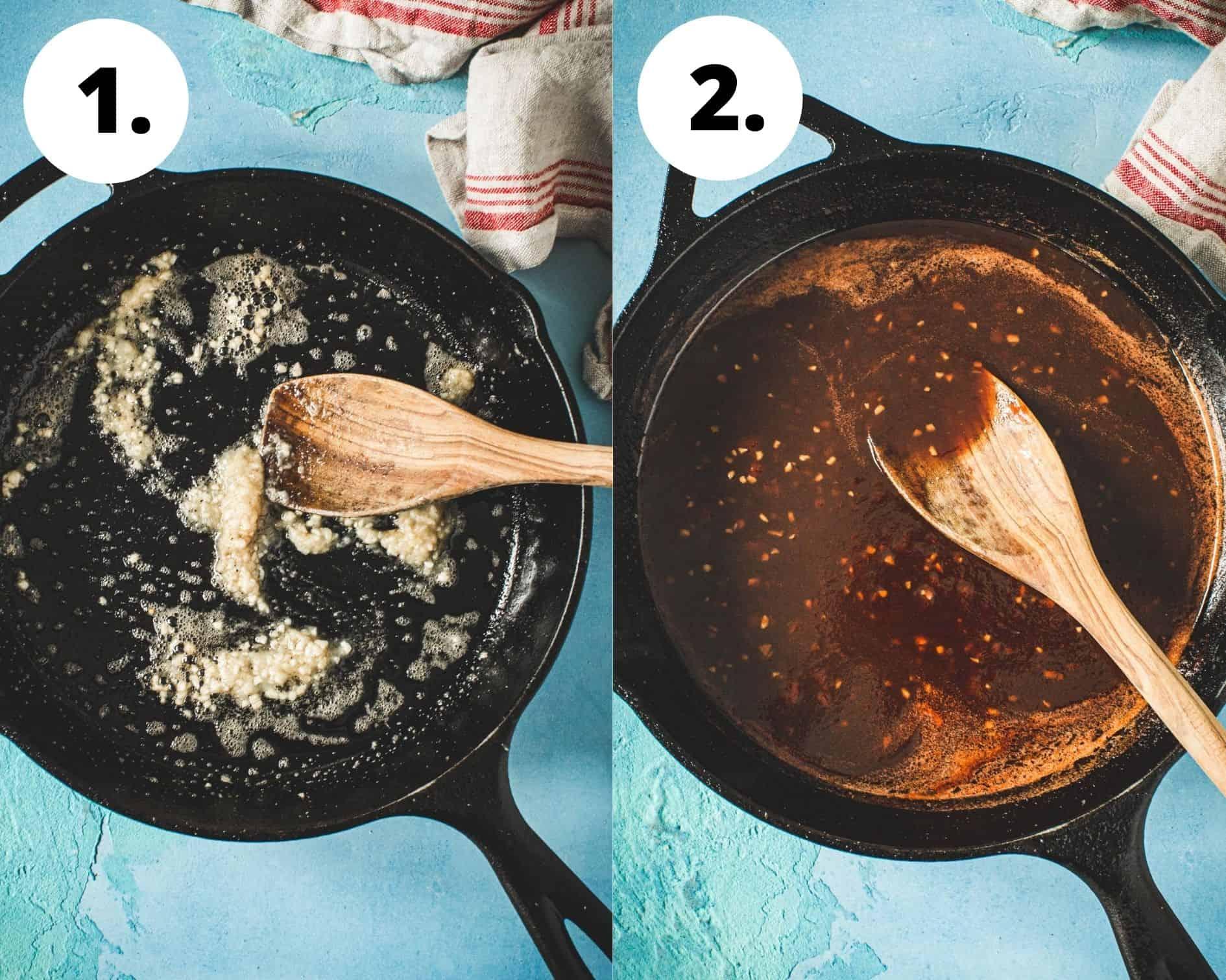 Huli huli chicken process steps 1 and 2.