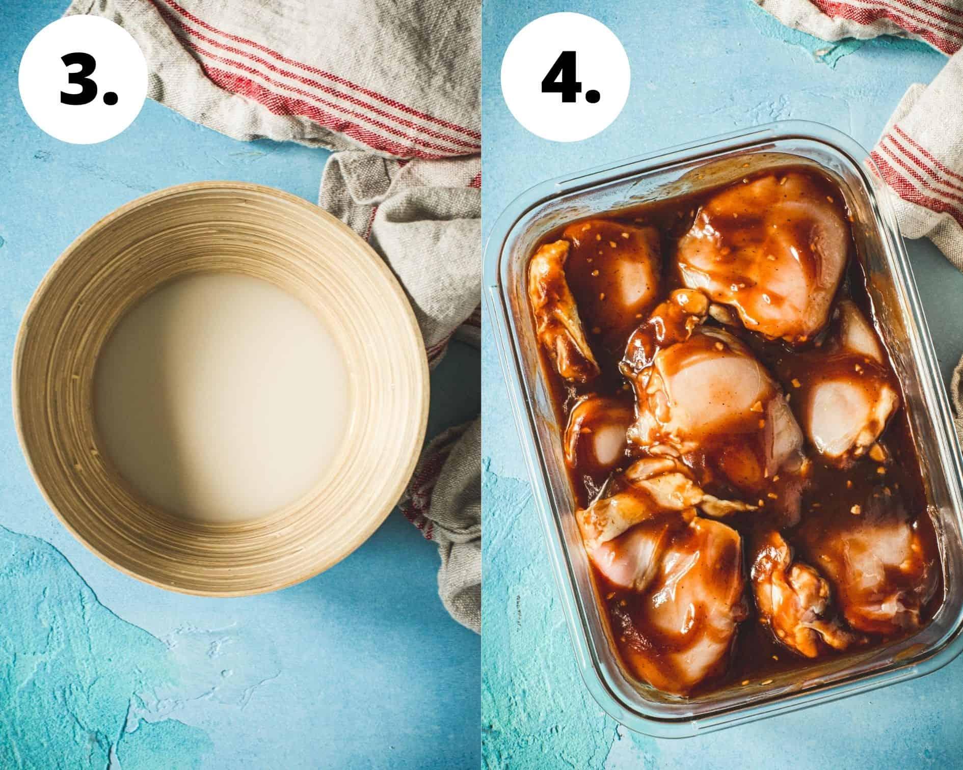 Huli huli chicken process steps 3 and 4.