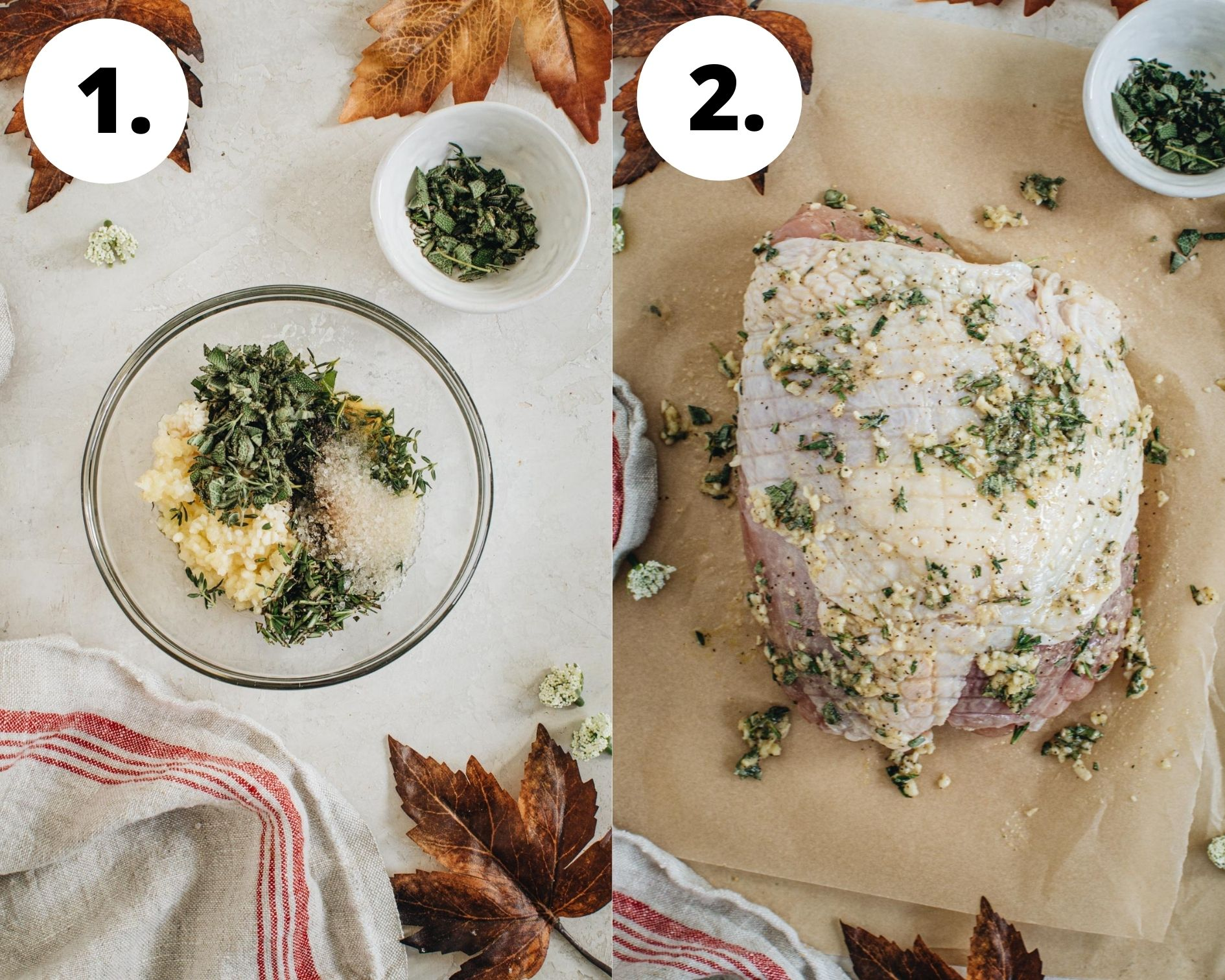 Oven-roasted turkey breast process steps 1 and 2.
