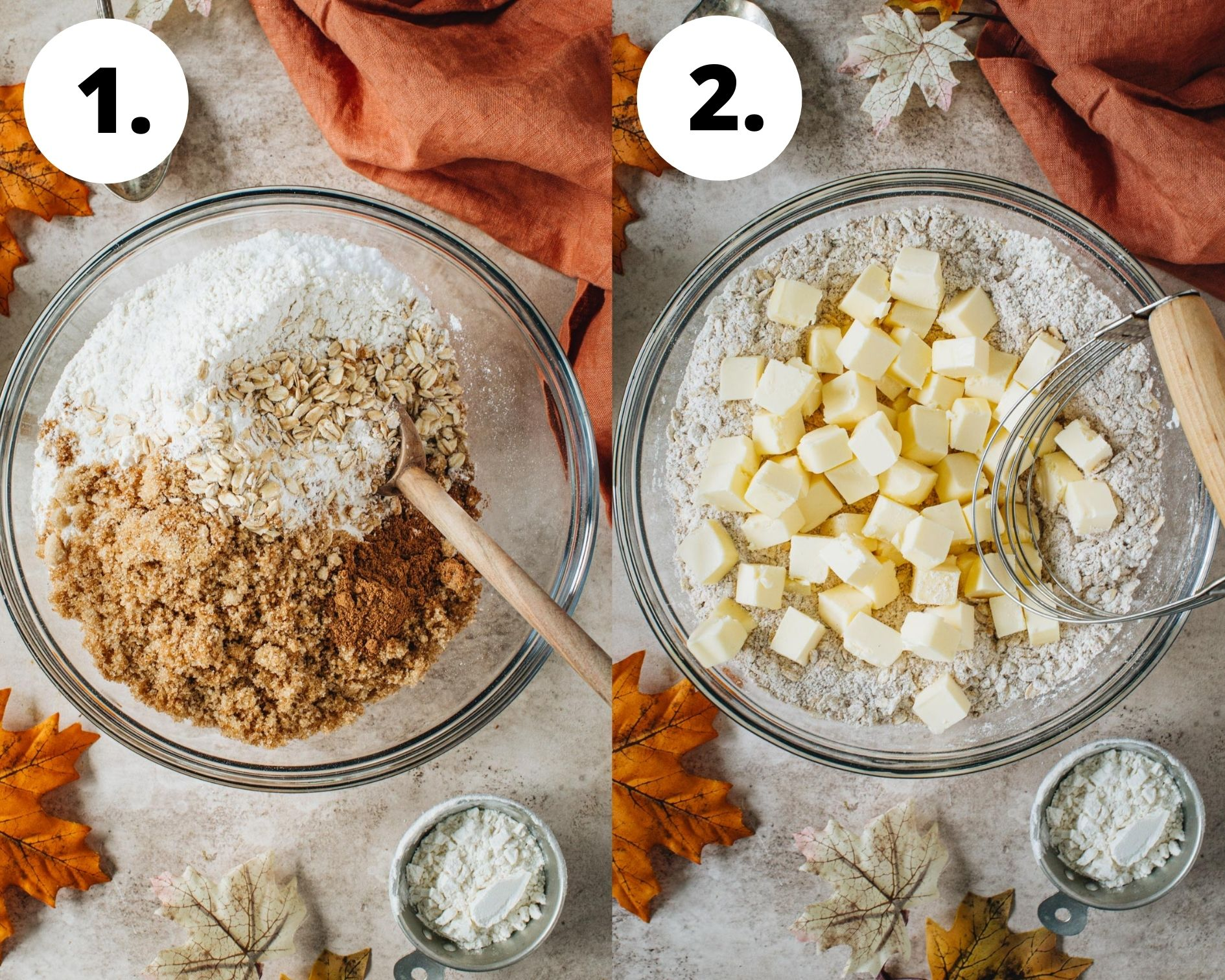 Pumpkin crisp process steps 1 and 2.