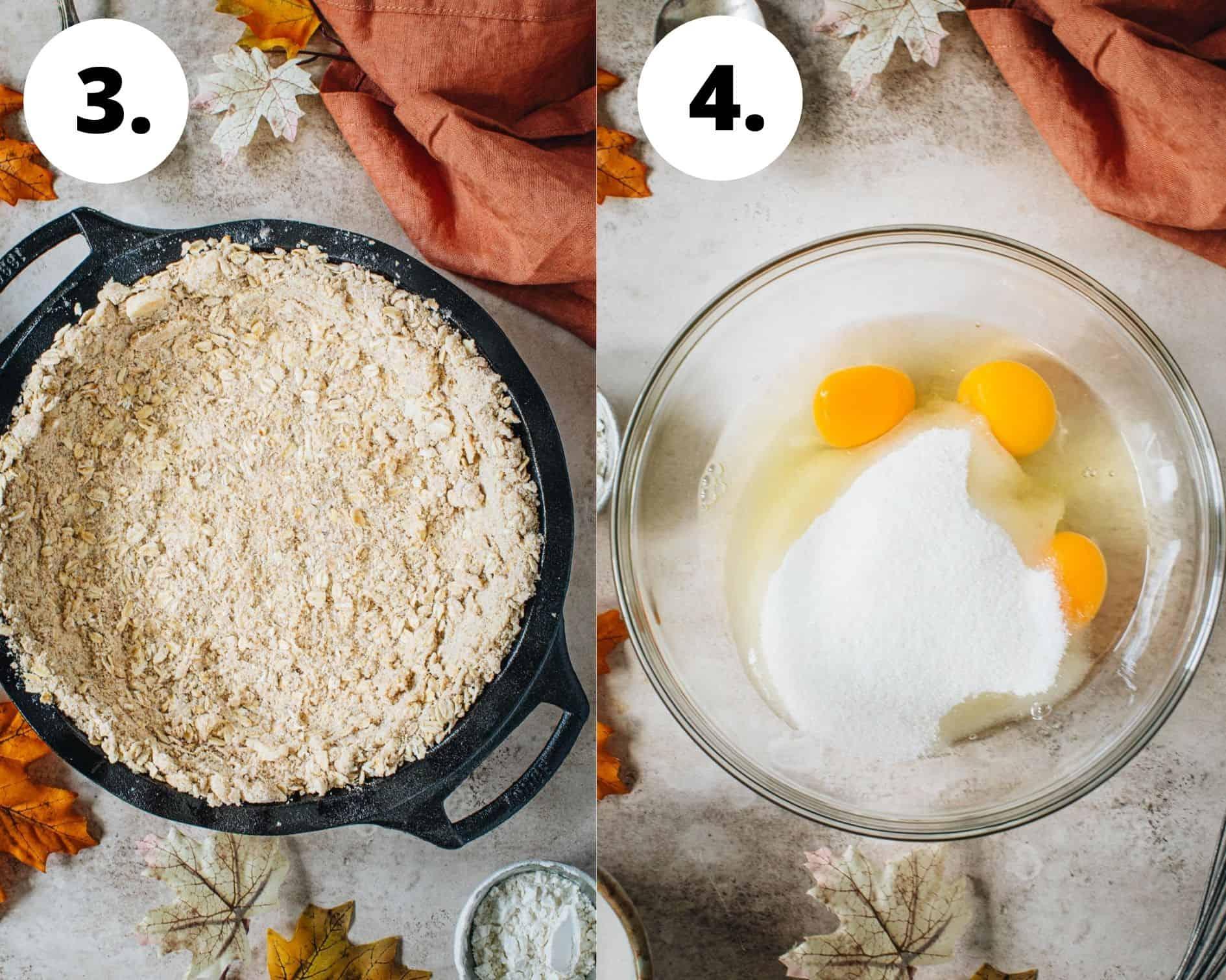 Pumpkin crisp process steps 3 and 4.