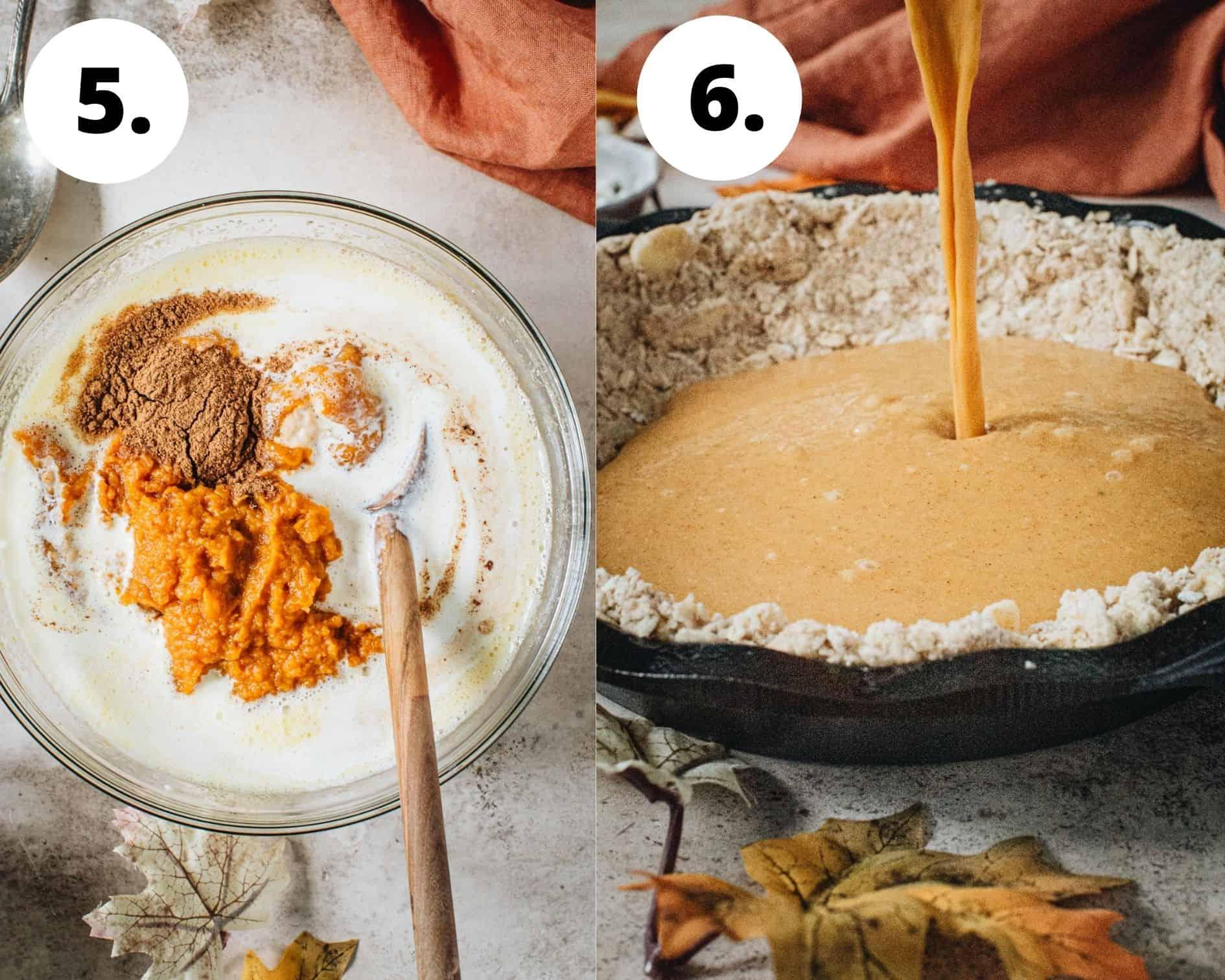 Pumpkin crisp process steps 5 and 6.