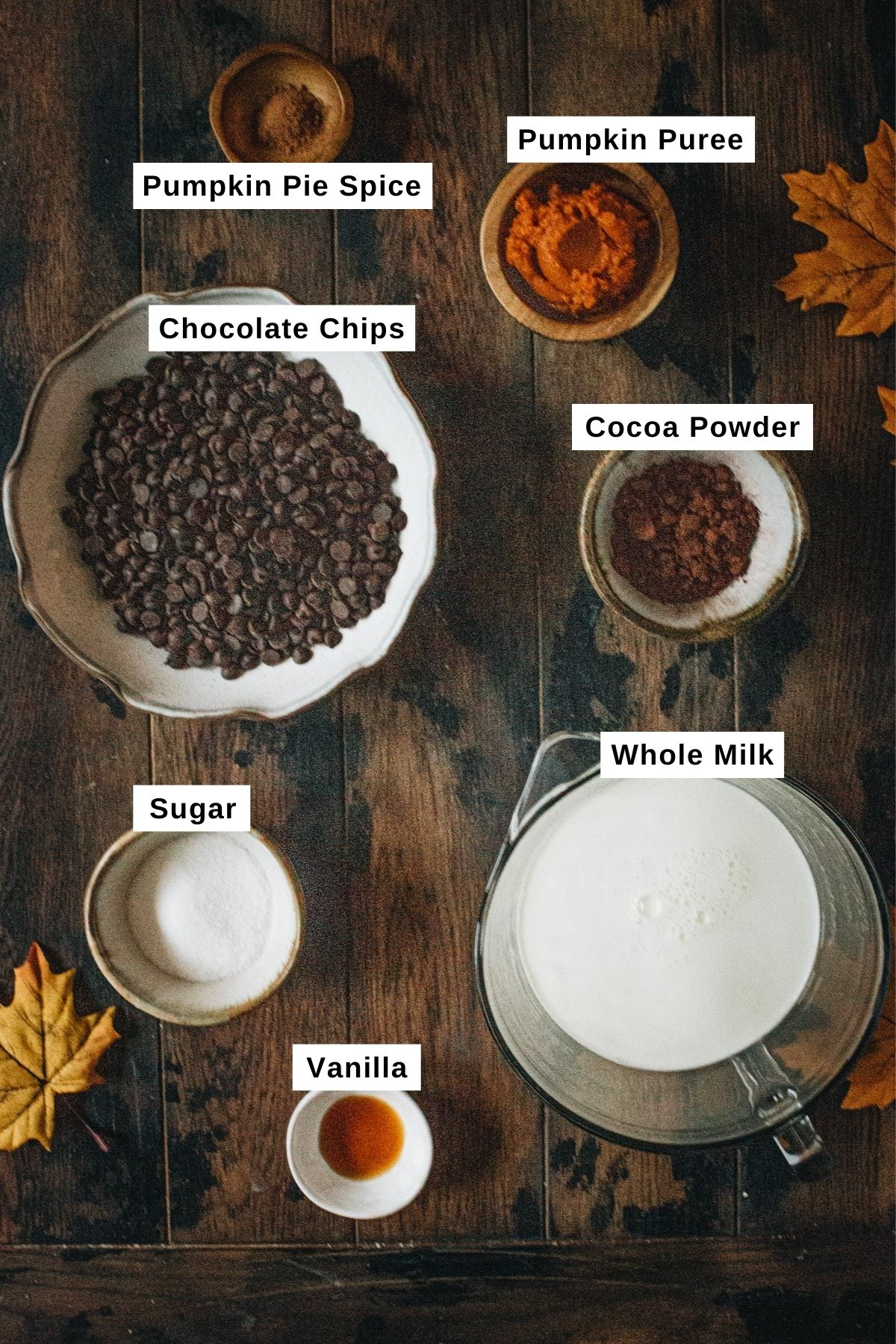 Pumpkin hot chocolate ingredients in different sized bowls.