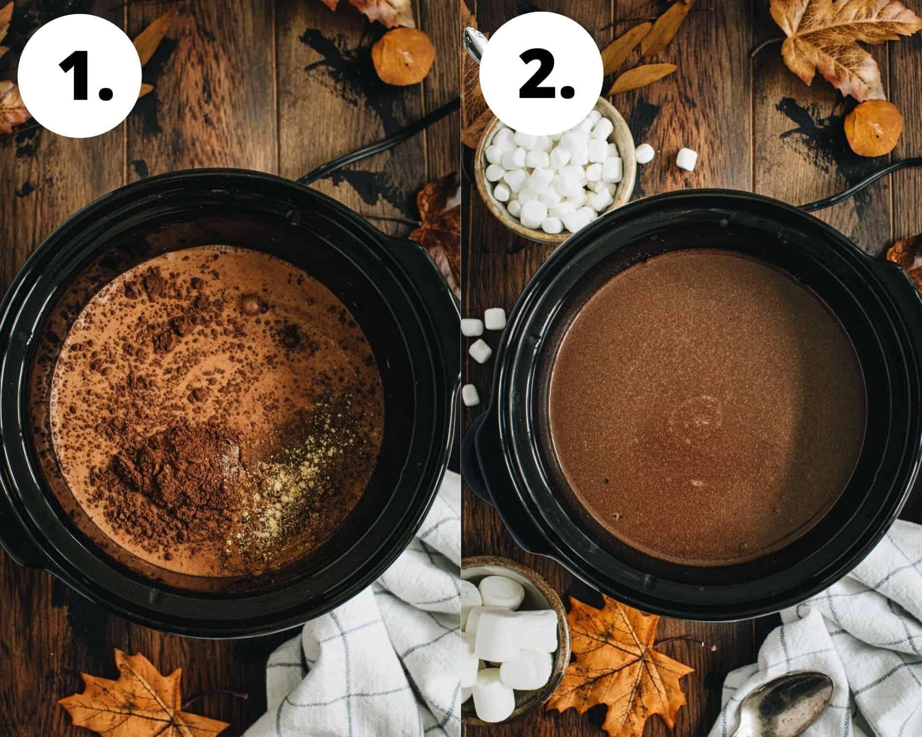 Pumpkin hot chocolate process steps 1 and 2.