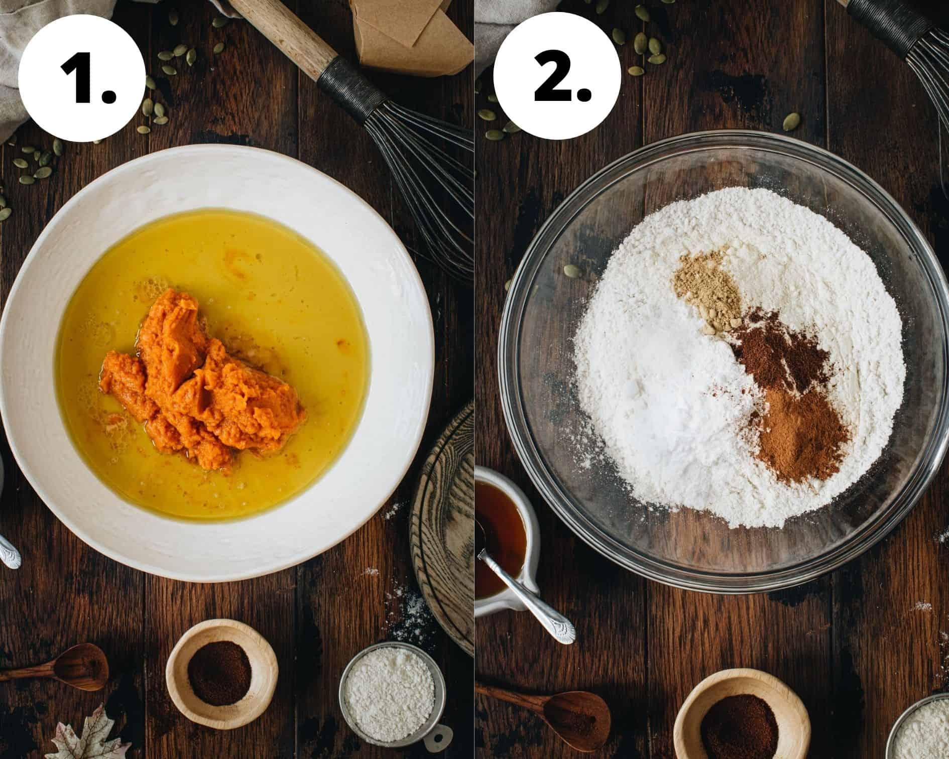 Vegan pumpkin muffins process steps 1 and 2.