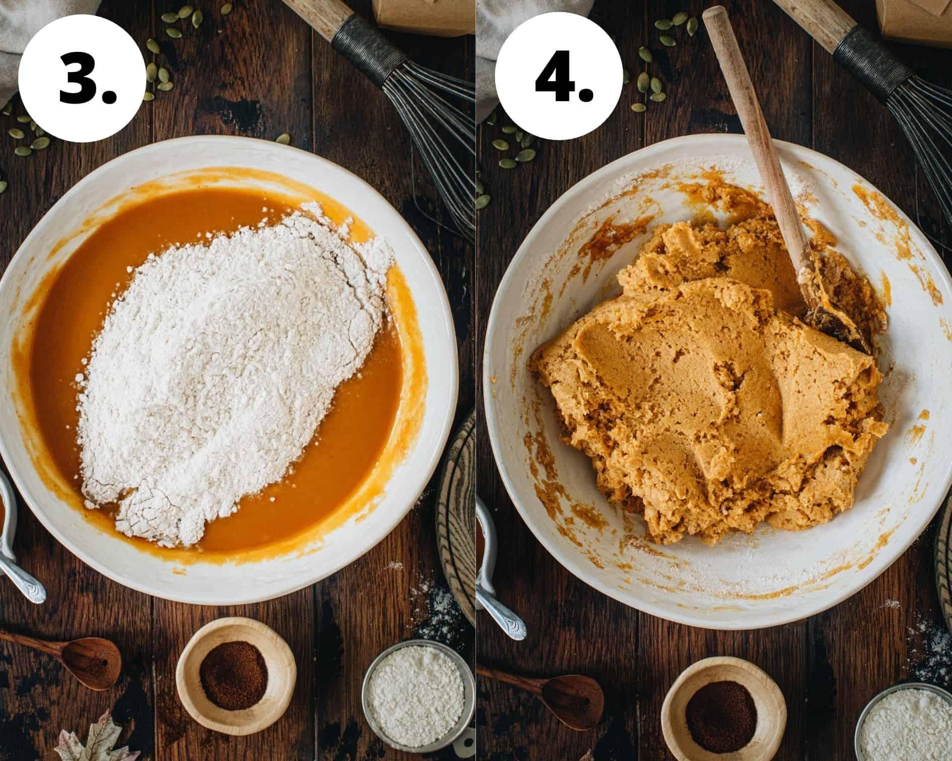 Vegan pumpkin muffins process steps 3 and 4.