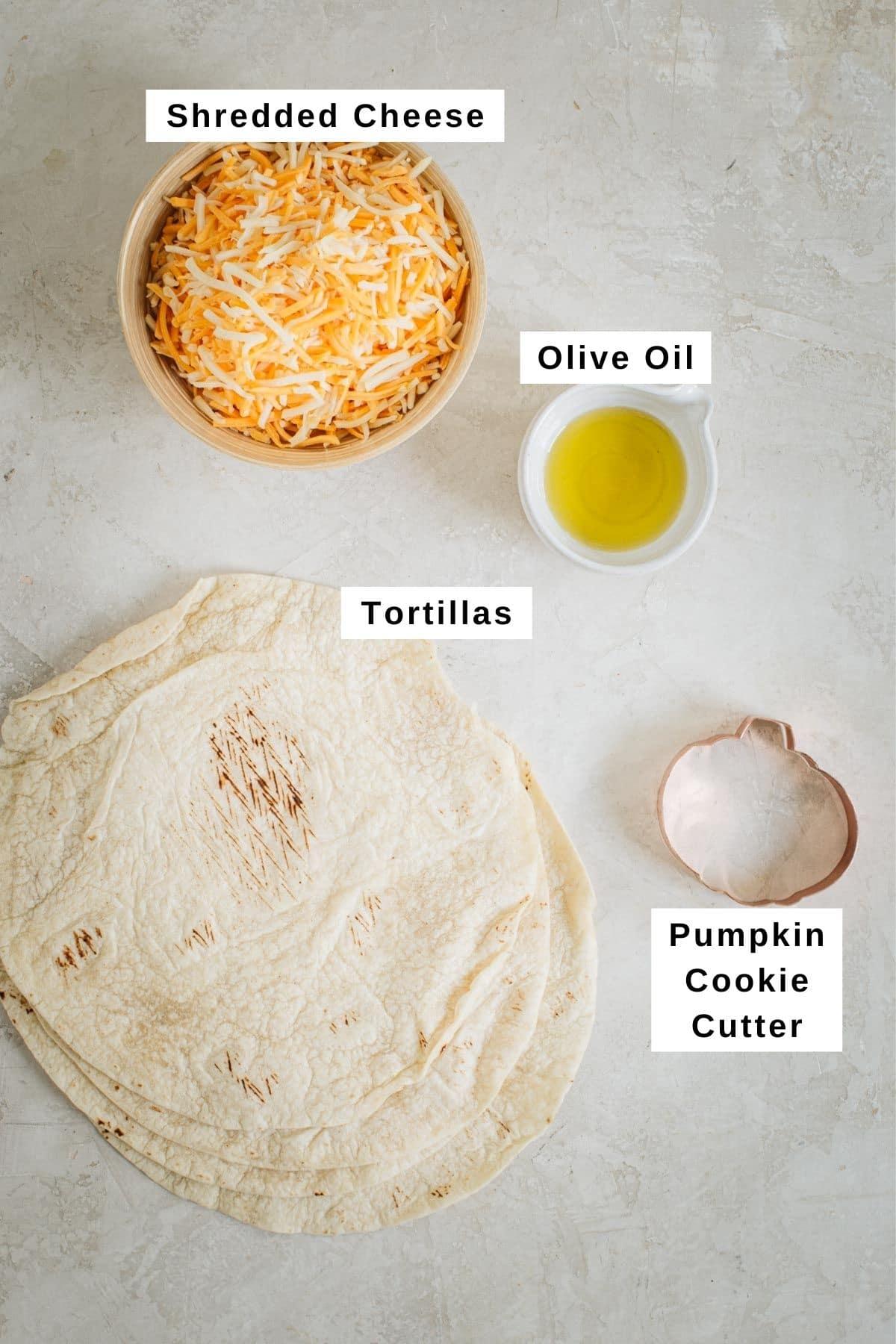 Jack-O-Lantern quesadillas ingredients.