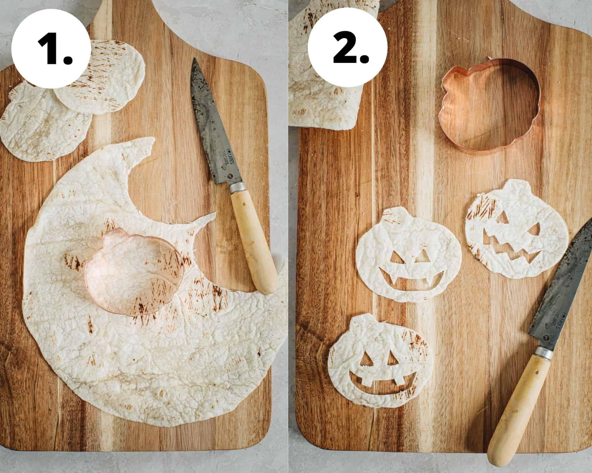 Jack-O-Lantern oven quesadillas process steps 1 and 2.