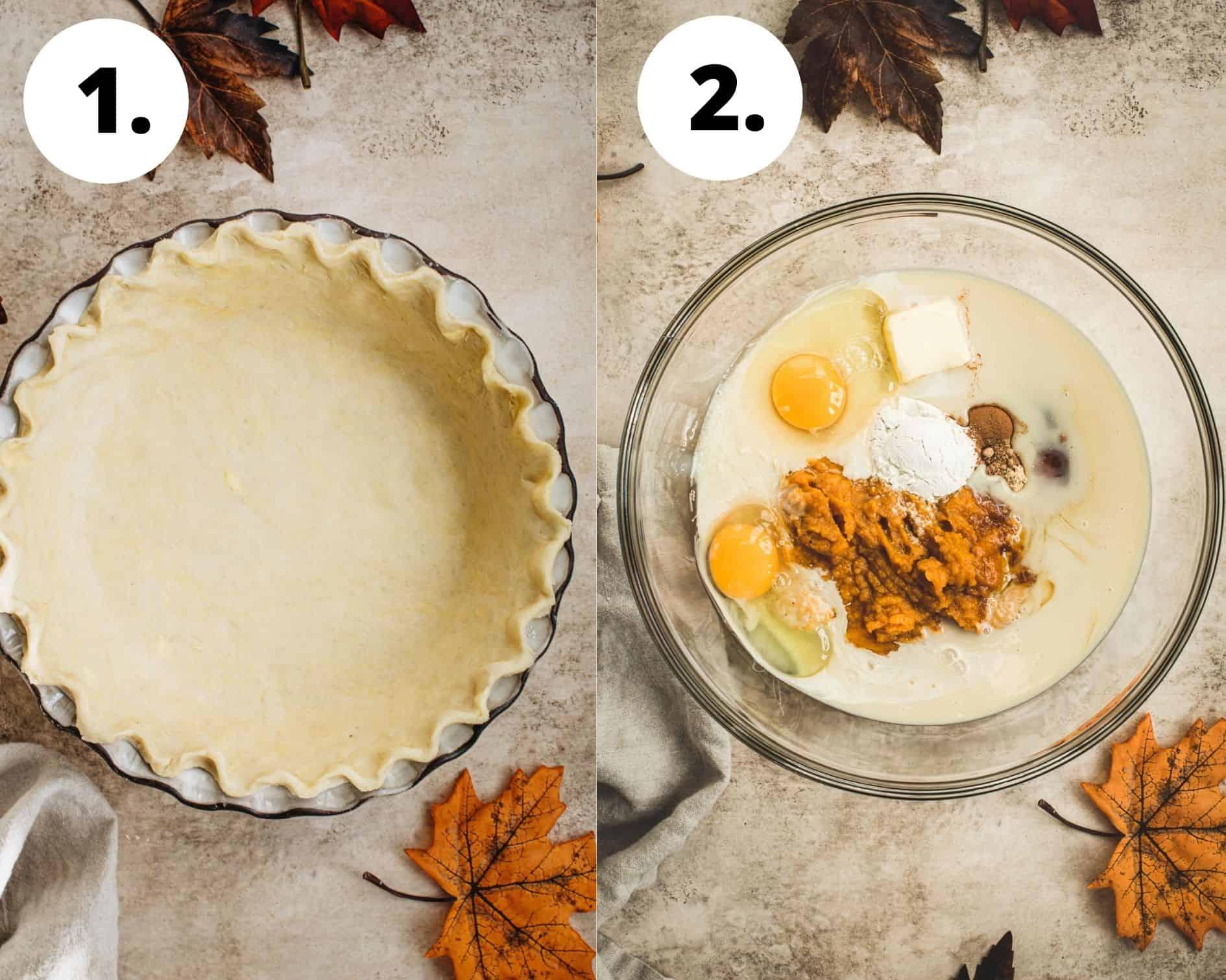 Maple pumpkin pie process steps 1 and 2.