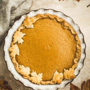 Maple Pumpkin Pie with leaf pie cut outs.