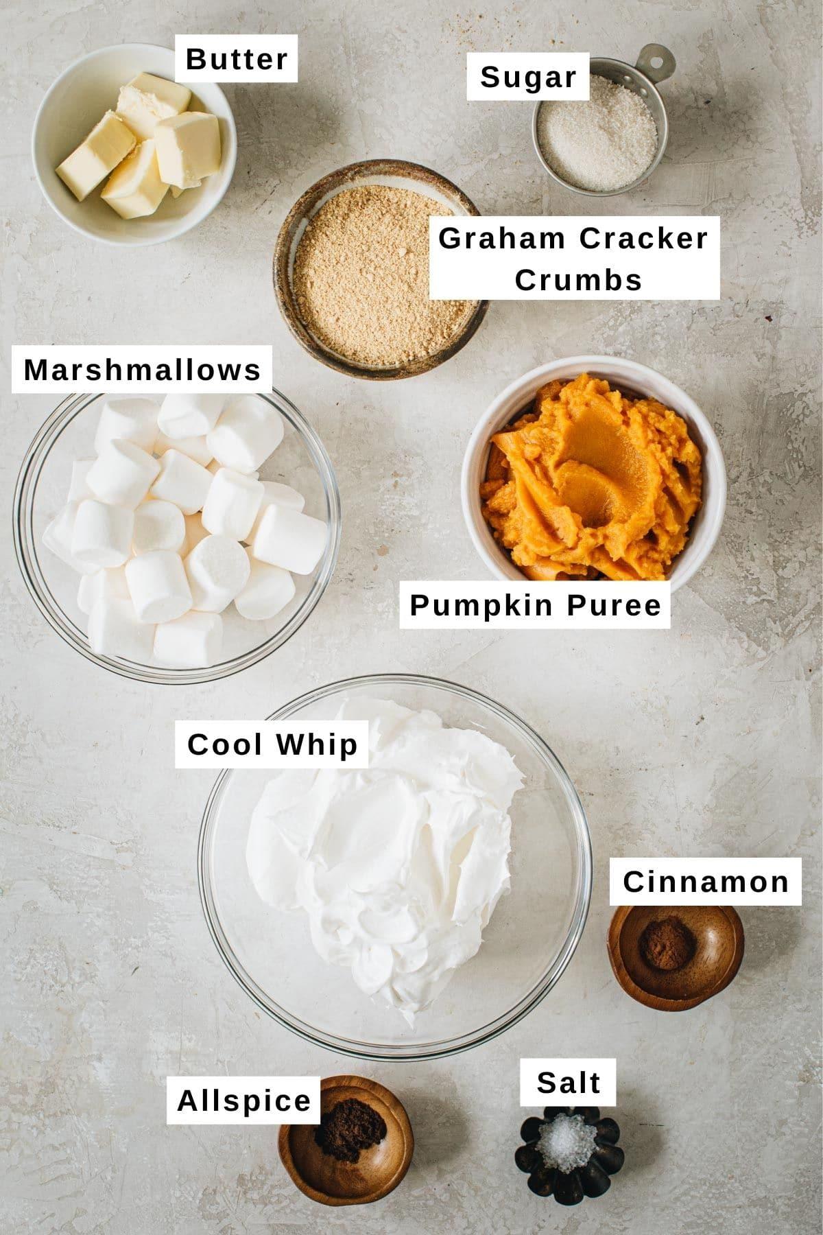 No-bake pumpkin pie ingredients in various bowls