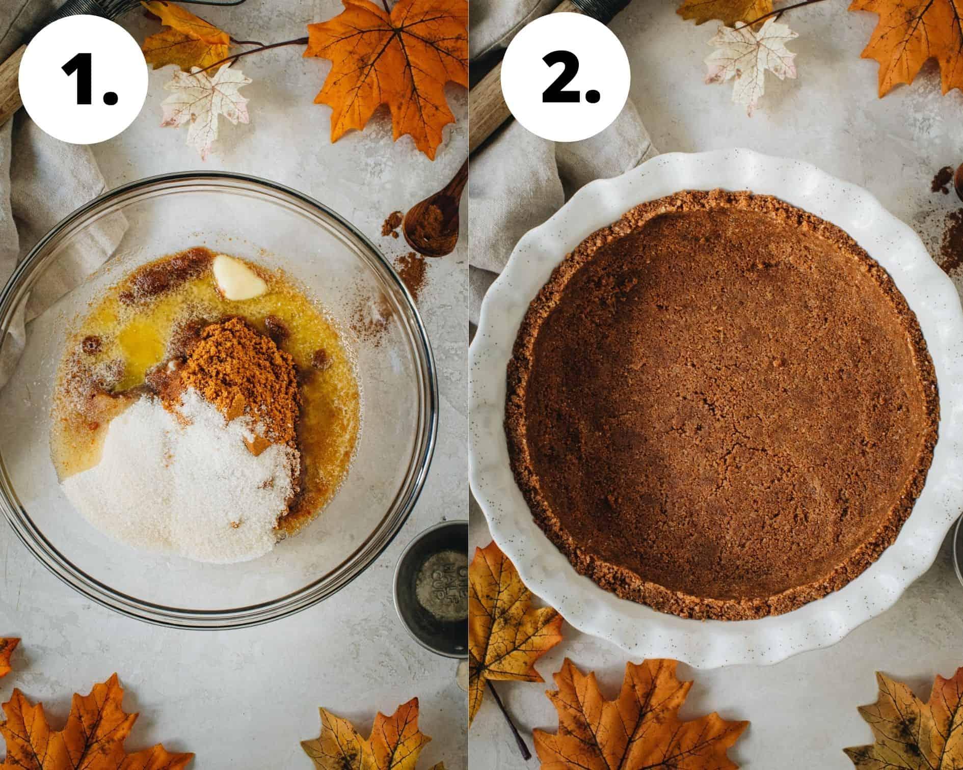 No-bake pumpkin pie process steps 1 and 2.