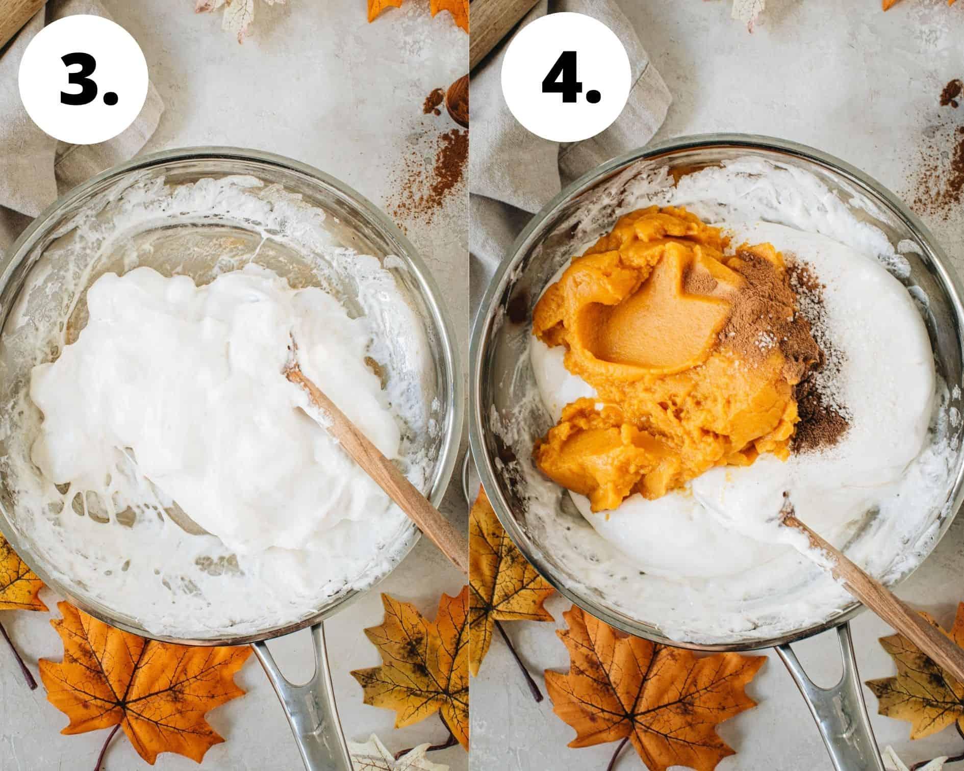 No-bake pumpkin pie process steps 3 and 4.