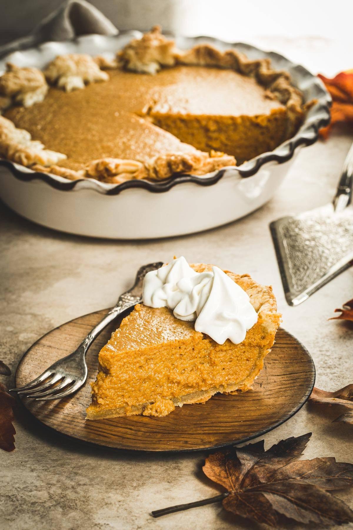 Slice of maple pumpkin pie.