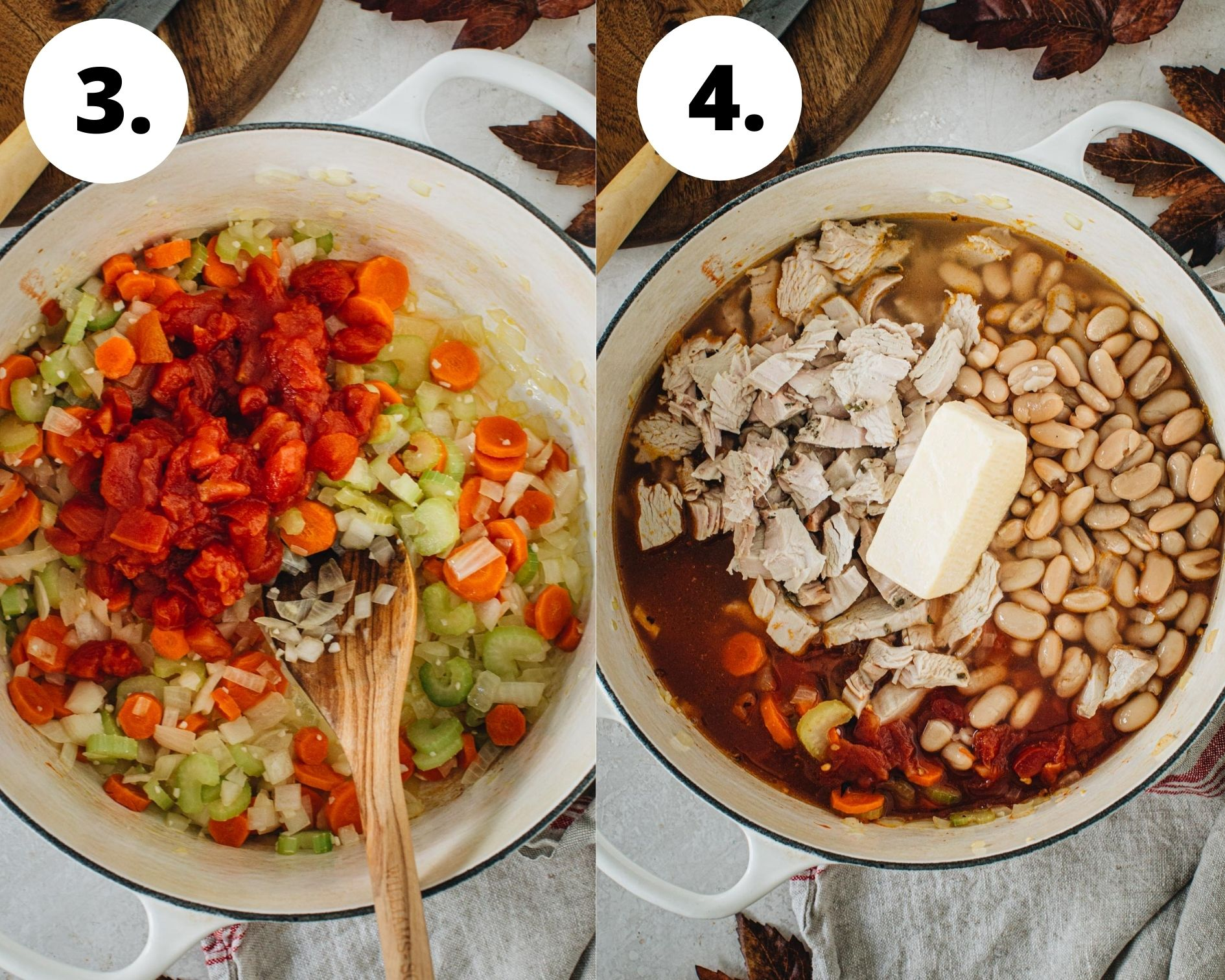 Tuscan white bean soup process steps 3 and 4.